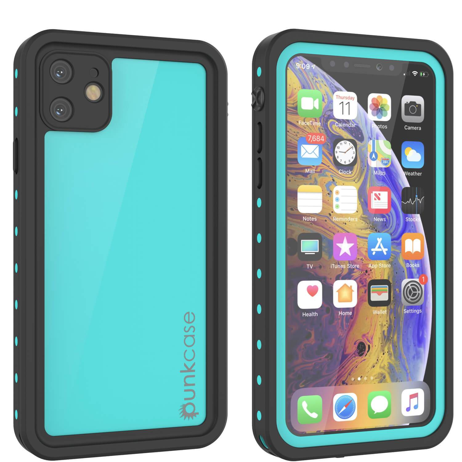 iPhone 11 Waterproof IP68 Case, Punkcase [Teal] [StudStar Series] [Slim Fit]