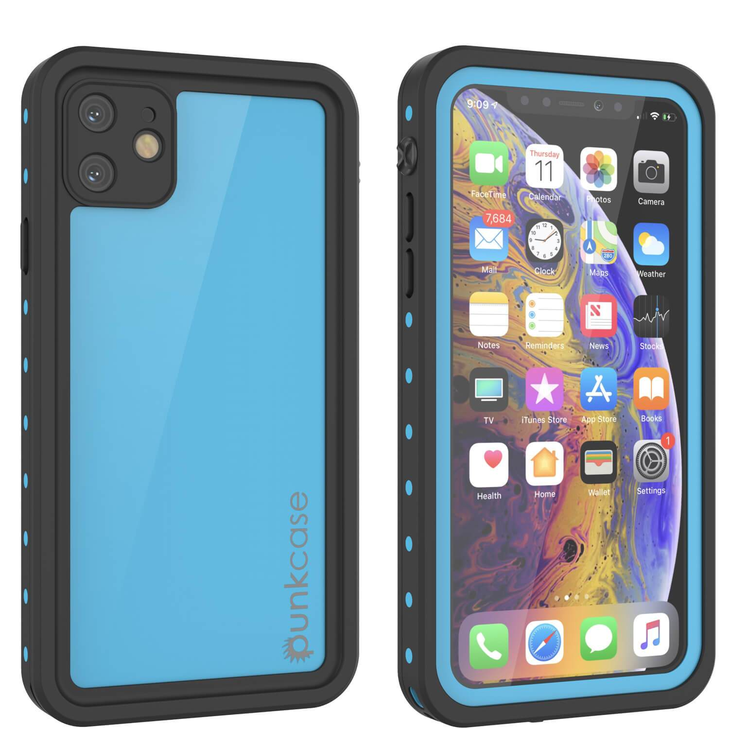 iPhone 11 Waterproof IP68 Case, Punkcase [Light blue] [StudStar Series] [Slim Fit] [Dirtproof]