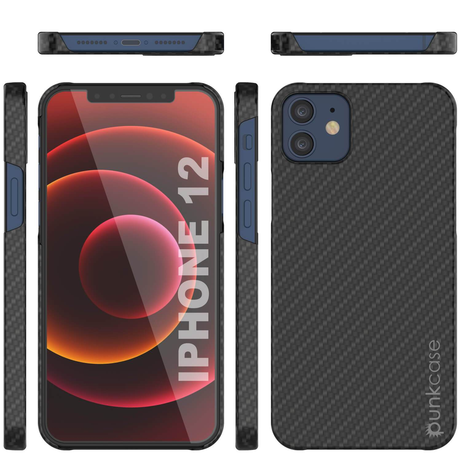 iPhone 12 Case, Punkcase CarbonShield, Heavy Duty & Ultra Thin 2 Piece Dual Layer [shockproof]