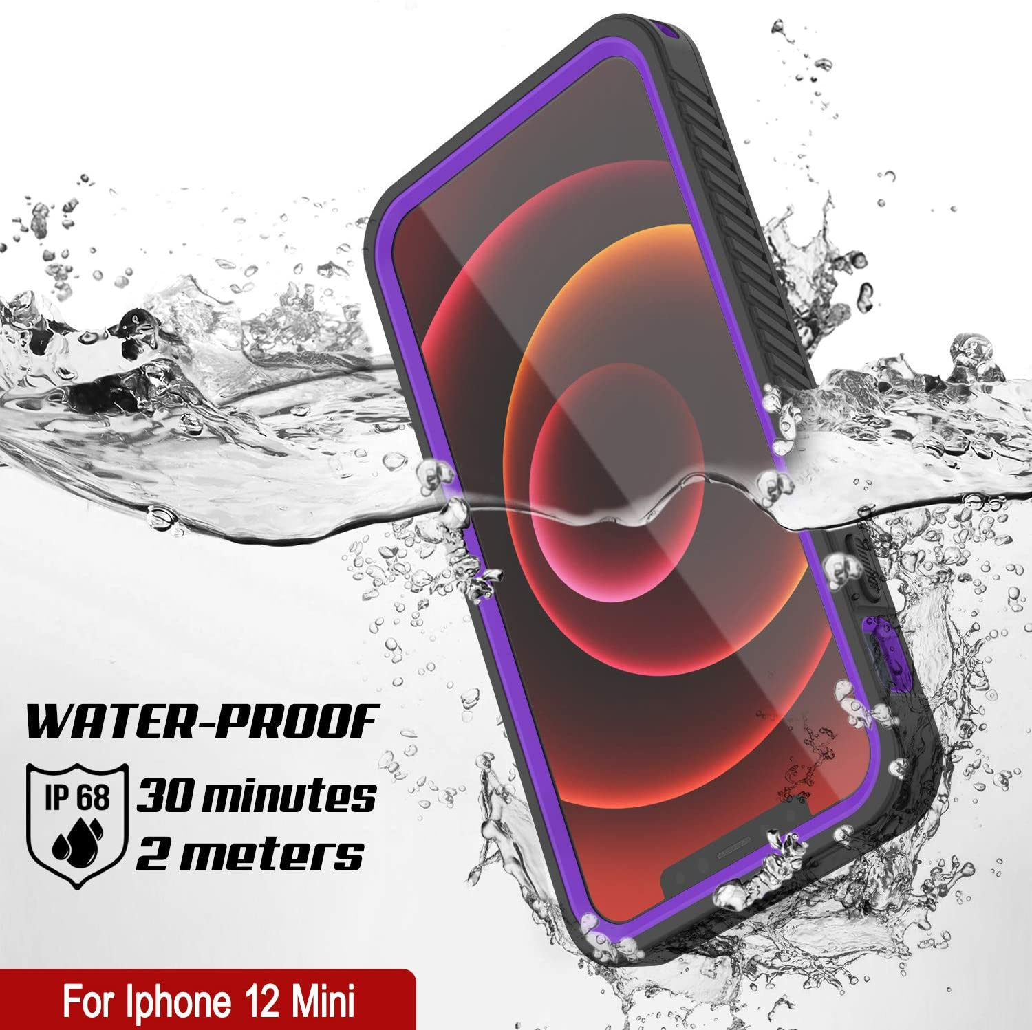 iPhone 12 Mini Waterproof Case, Punkcase [Extreme Series] Armor Cover W/ Built In Screen Protector [Purple]
