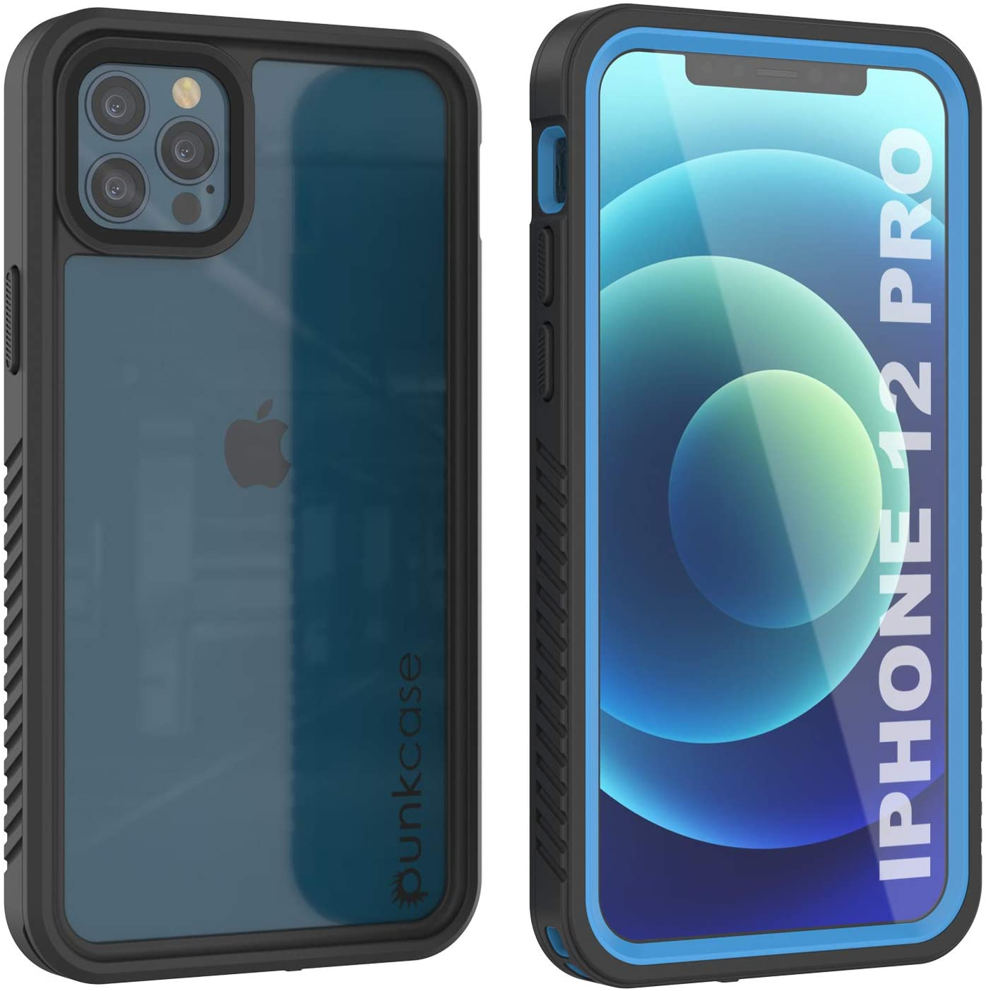 iPhone 12 Pro Waterproof Case, Punkcase [Extreme Series] Armor Cover W/ Built In Screen Protector [Light Blue]