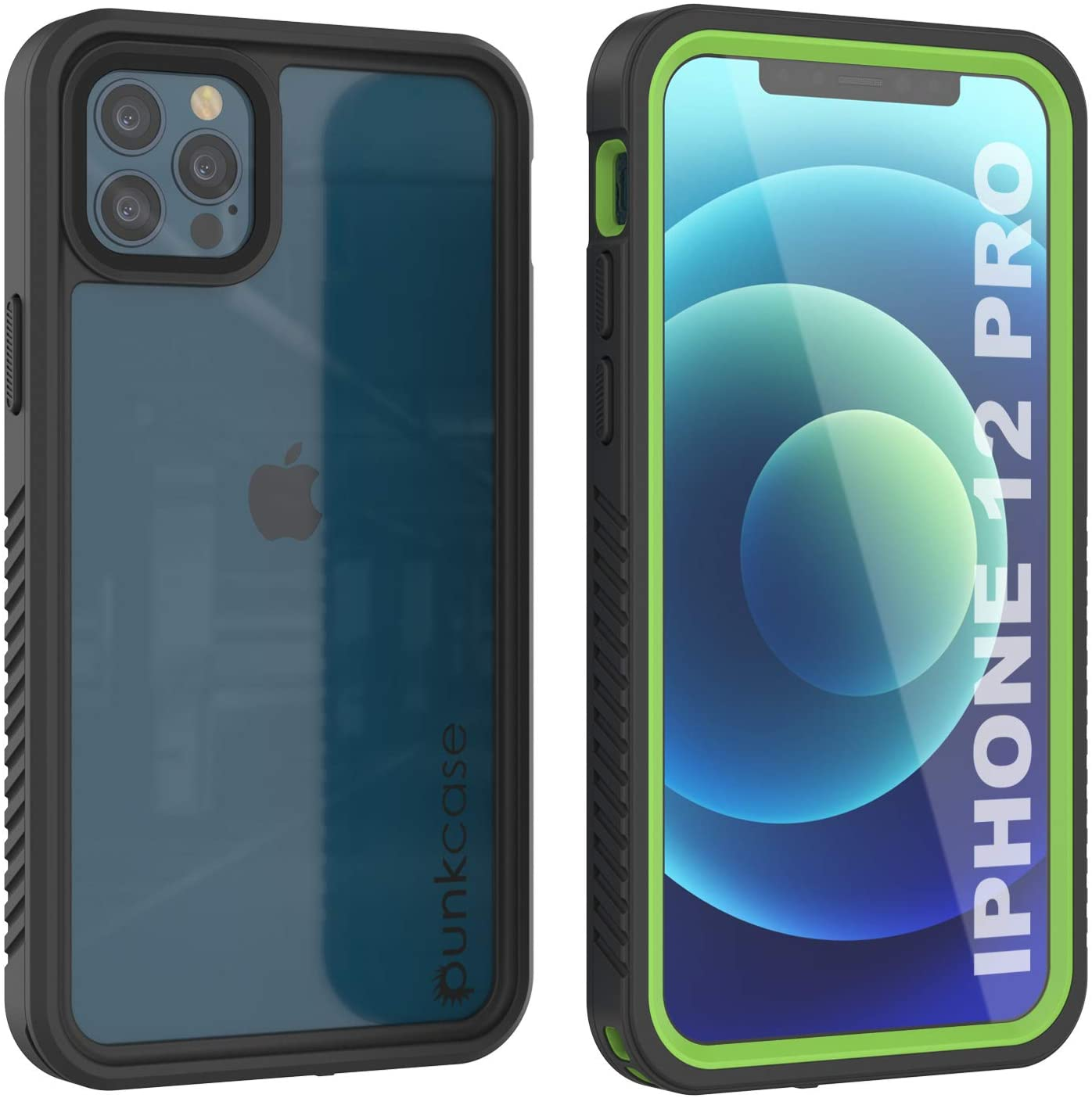 iPhone 12 Pro Waterproof Case, Punkcase [Extreme Series] Armor Cover W/ Built In Screen Protector [Light Green]