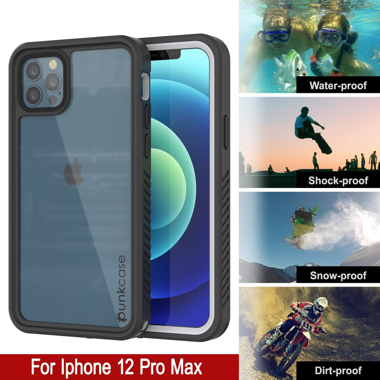iPhone 12 Pro Max Waterproof Case, Punkcase [Extreme Series] Armor Cover W/ Built In Screen Protector [White]