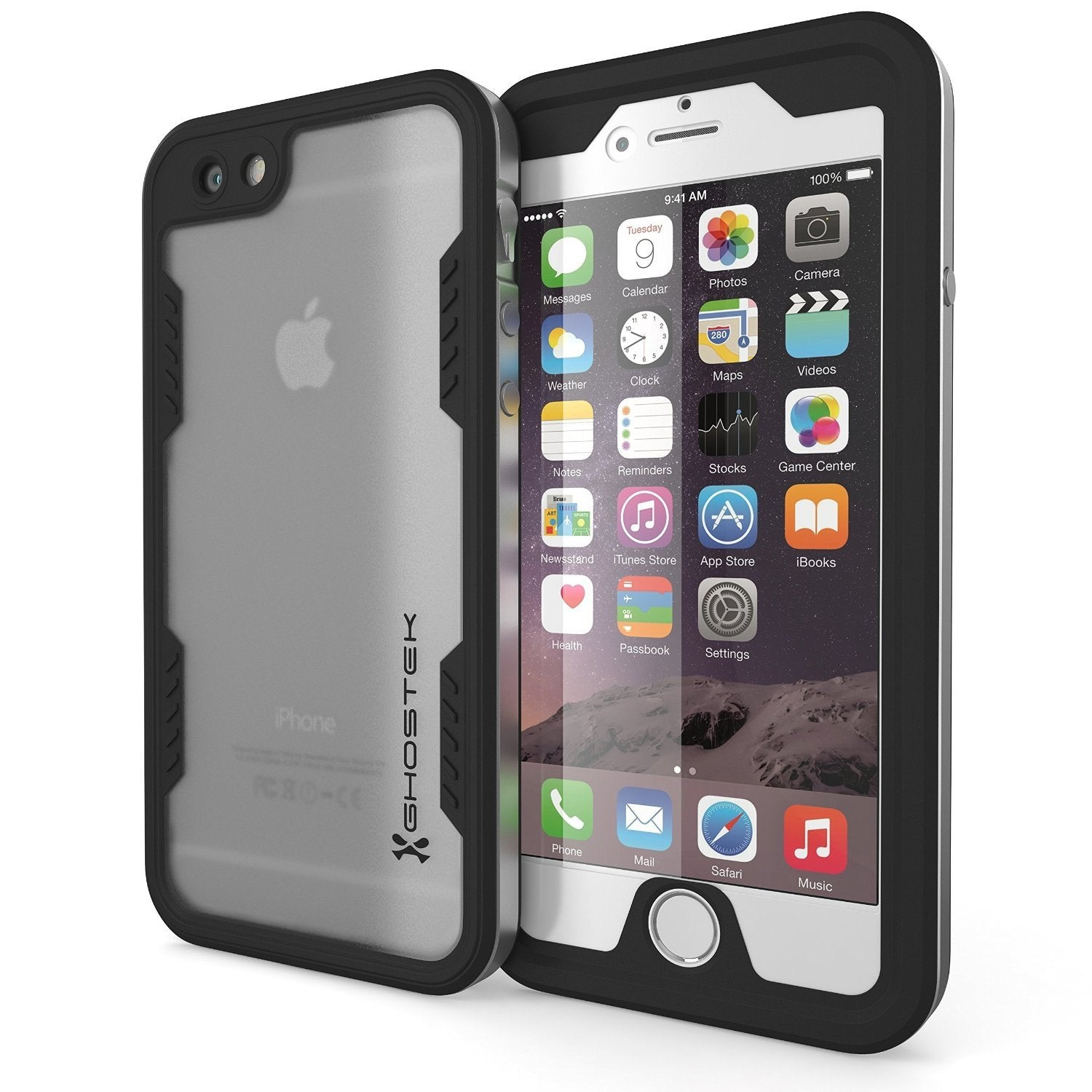 iPhone 6S+/6+ Plus Waterproof Case Ghostek Atomic 2.0 Silver w/ Attached Screen Protector | Slim