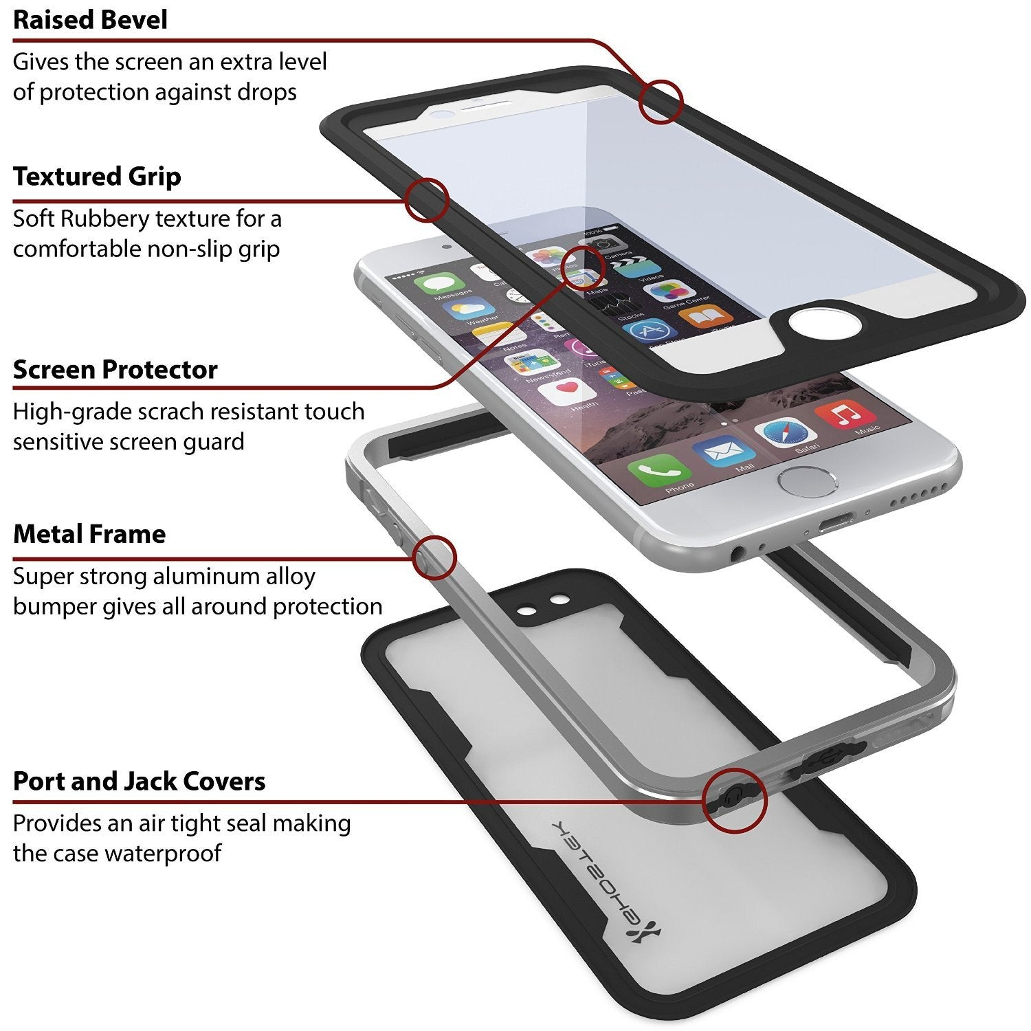 sports shoes 28d81 6269f iPhone 6/6S Waterproof Case, Ghostek Atomic 2.0 SILVER W/ Attached Screen  Protector   Slim Fit