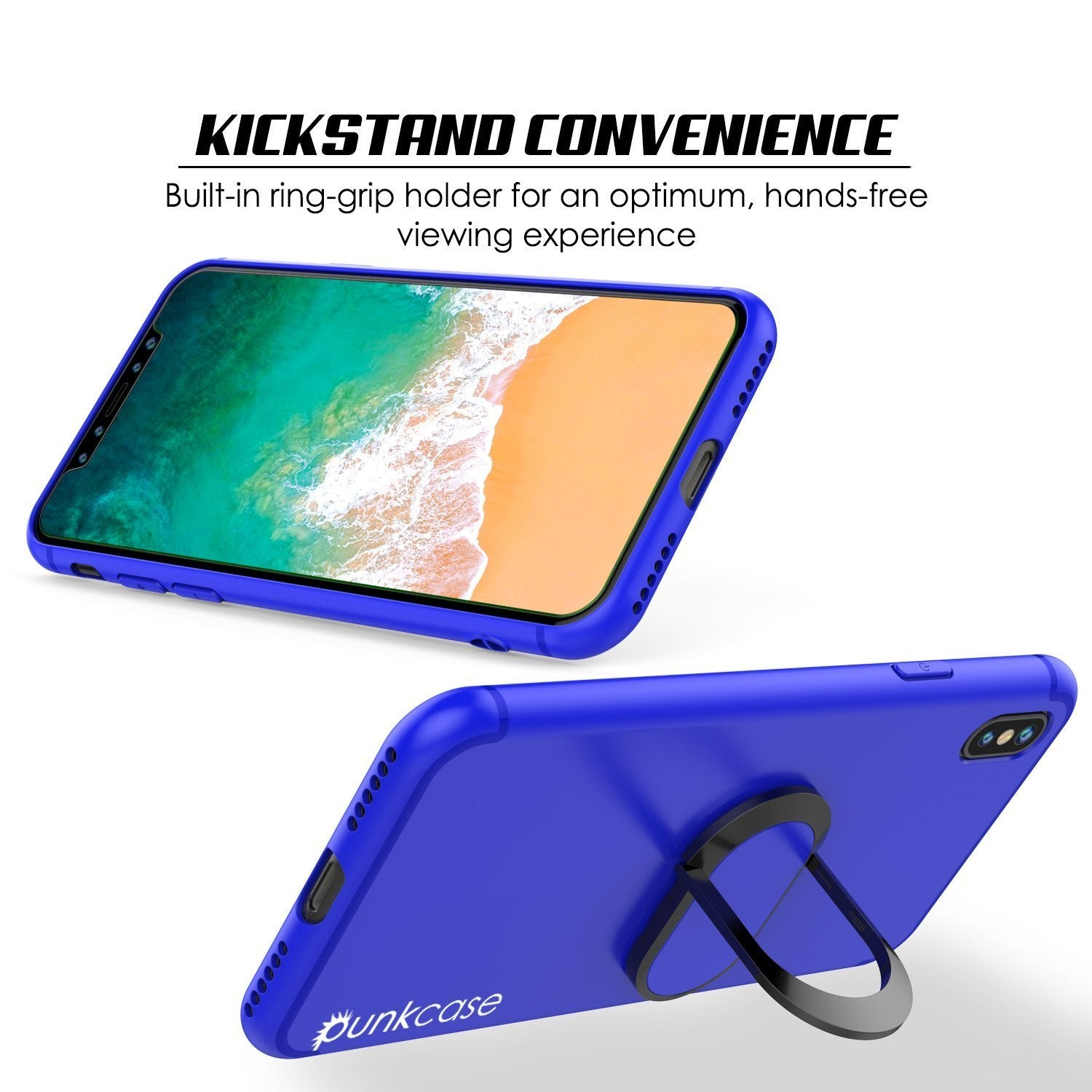 iPhone X Punkcase, Magnetix Protective TPU Case W/ Kickstand, [Blue]