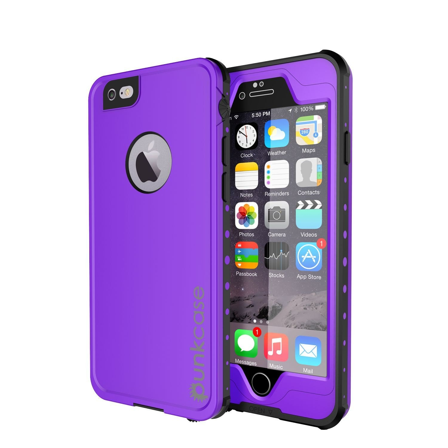iPhone 6S+/6+ Plus Waterproof Case, PUNKcase StudStar Purple w/ Attached Screen Protector | Warranty