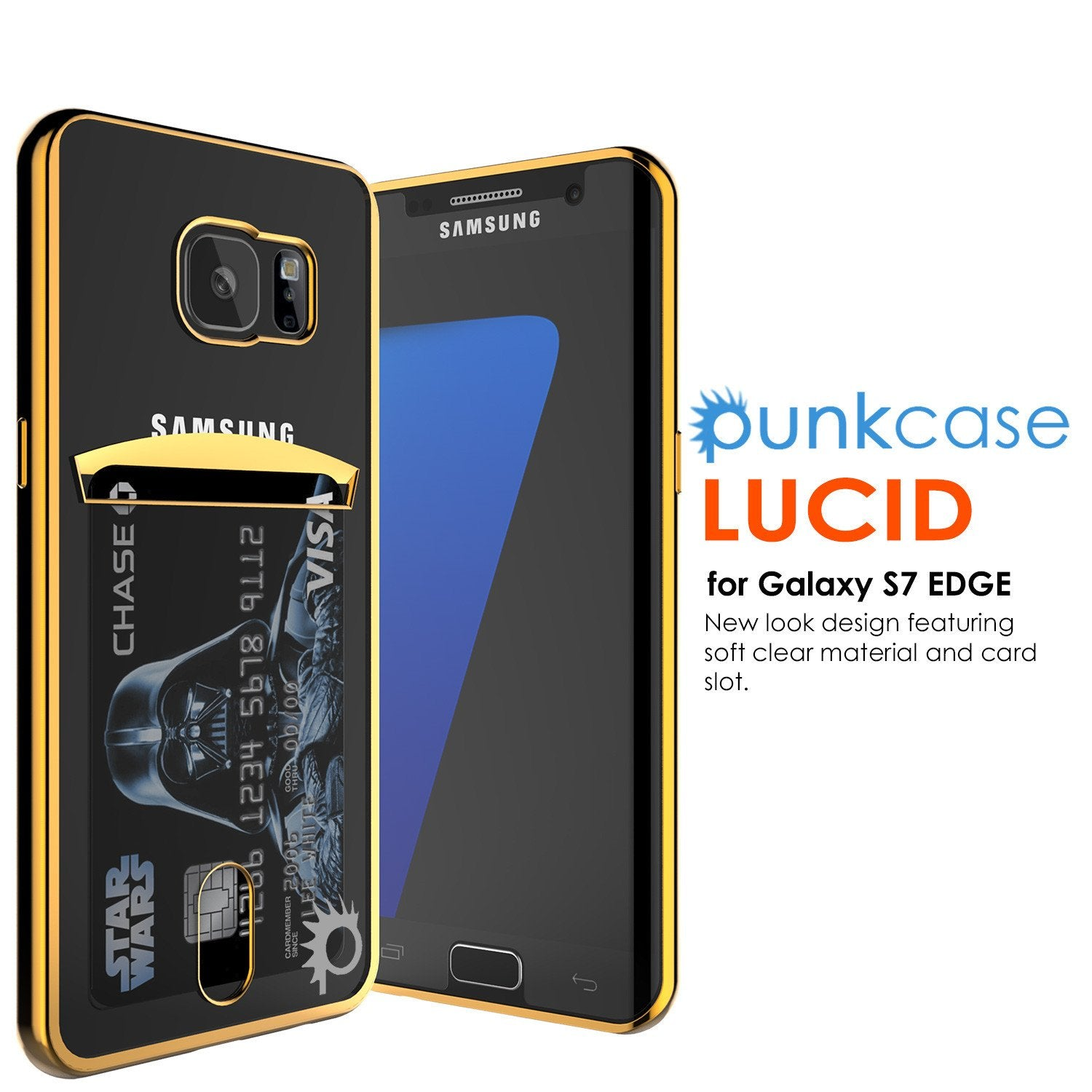 Galaxy S7 Case, PUNKCASE® LUCID Gold Series | Card Slot