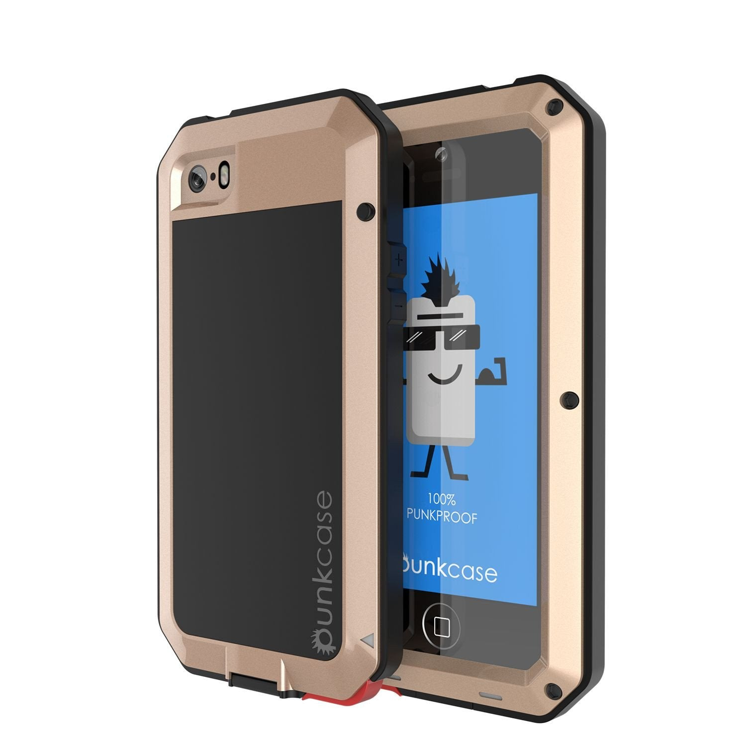 iPhone SE/5/5s Case, Punkcase® METALLIC Series GOLD w/ TEMPERED GLASS | Aluminum Frame