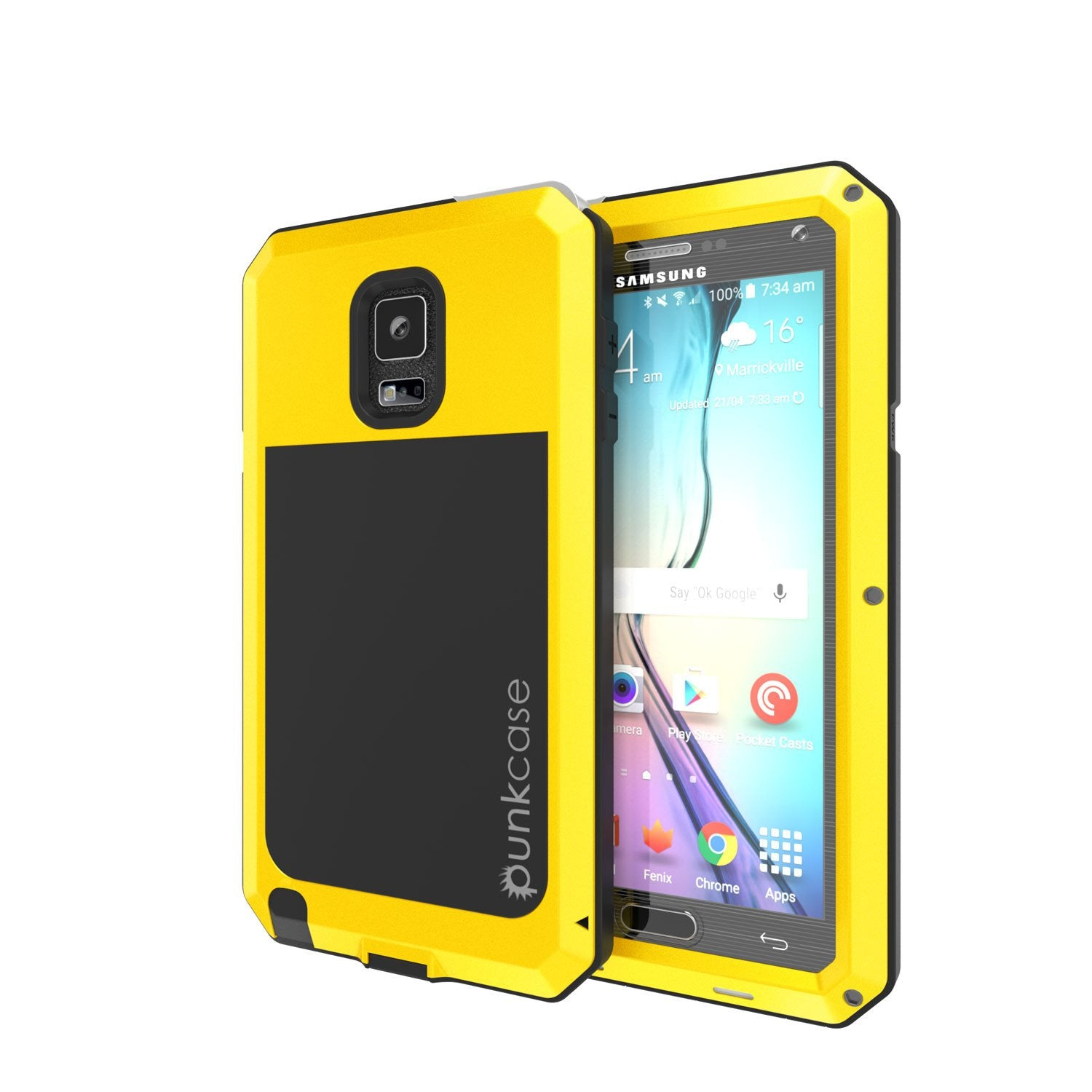 Note 4 Case, Punkcase® METALLIC Series NEON w/ TEMPERED GLASS | Aluminum Frame