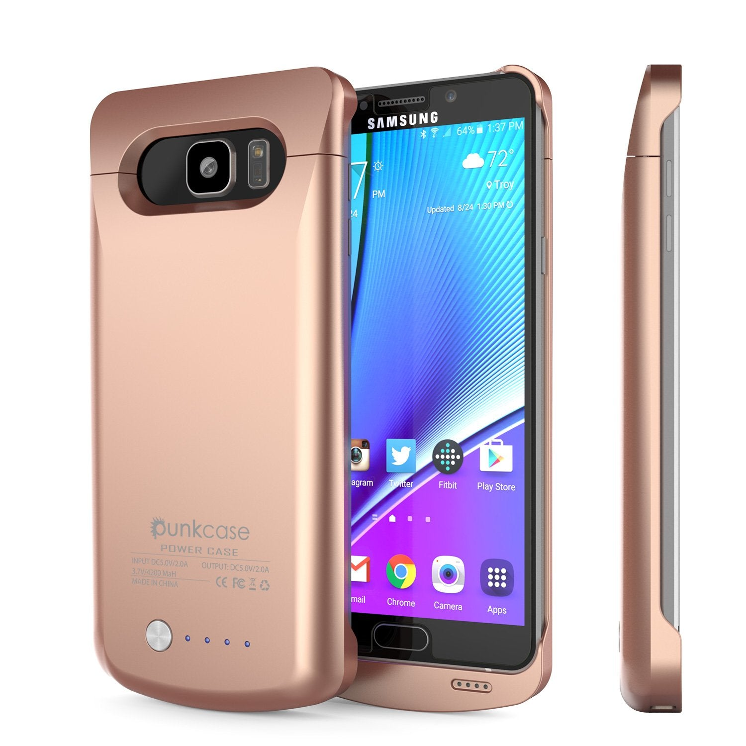 Galaxy Note 5 Battery Case, Punkcase 5000mAH Charger Rose Gold Case