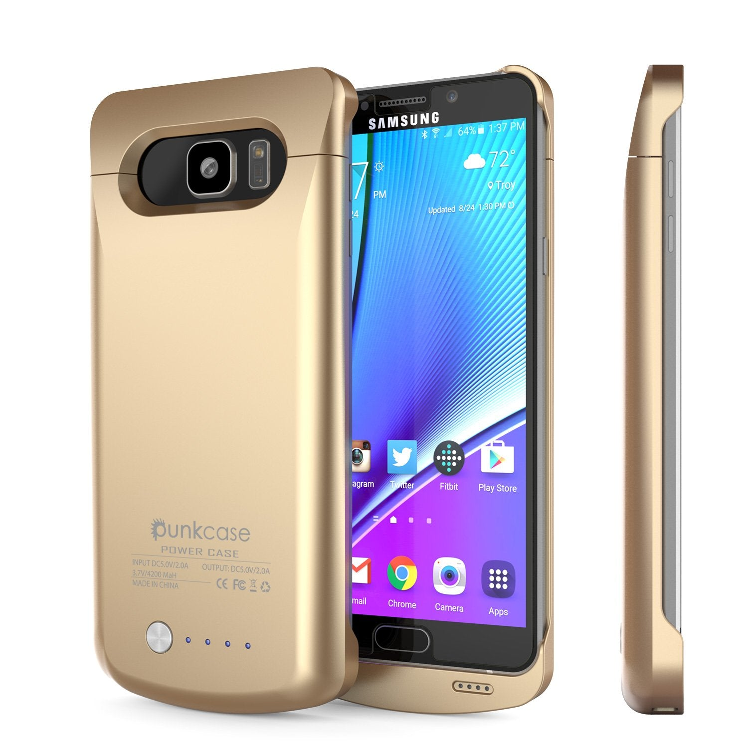 Galaxy Note 5 Battery Case, Punkcase 5000mAH Charger Gold Case