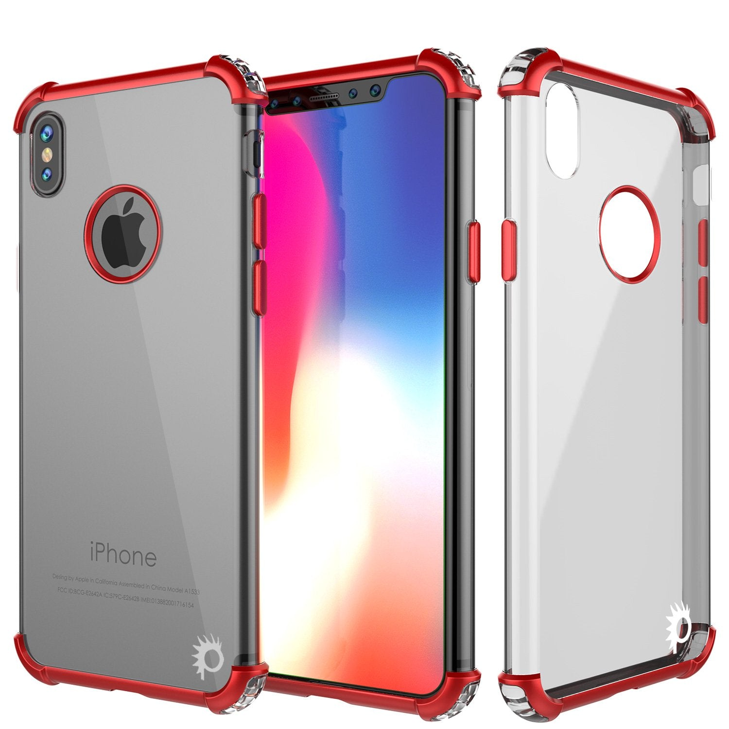 iPhone X Punkcase [BLAZE SERIES] Cover W/ Screen Protector [Red]