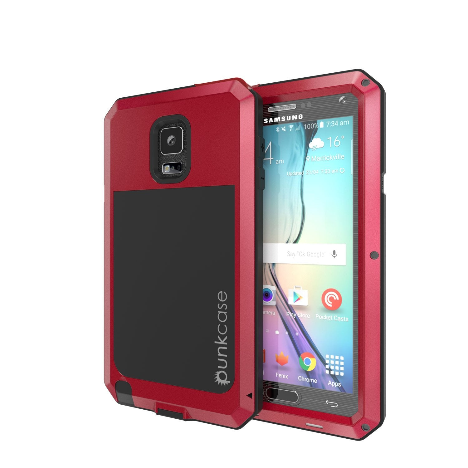 Note 4 Case, Punkcase® METALLIC Series RED w/ TEMPERED GLASS | Aluminum Frame