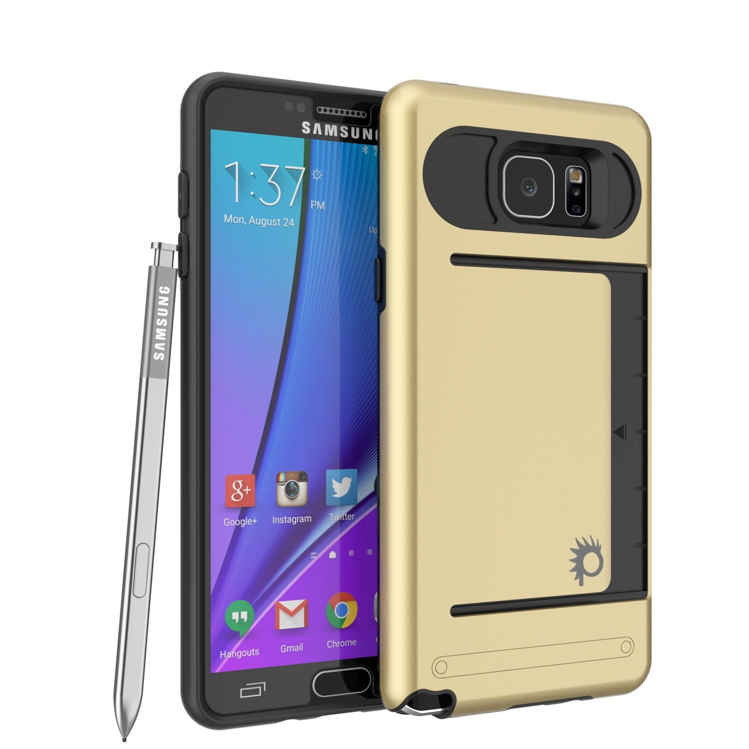 Galaxy Note 5 Case PunkCase CLUTCH Gold Series Slim Armor Soft Cover Case w/ Tempered Glass