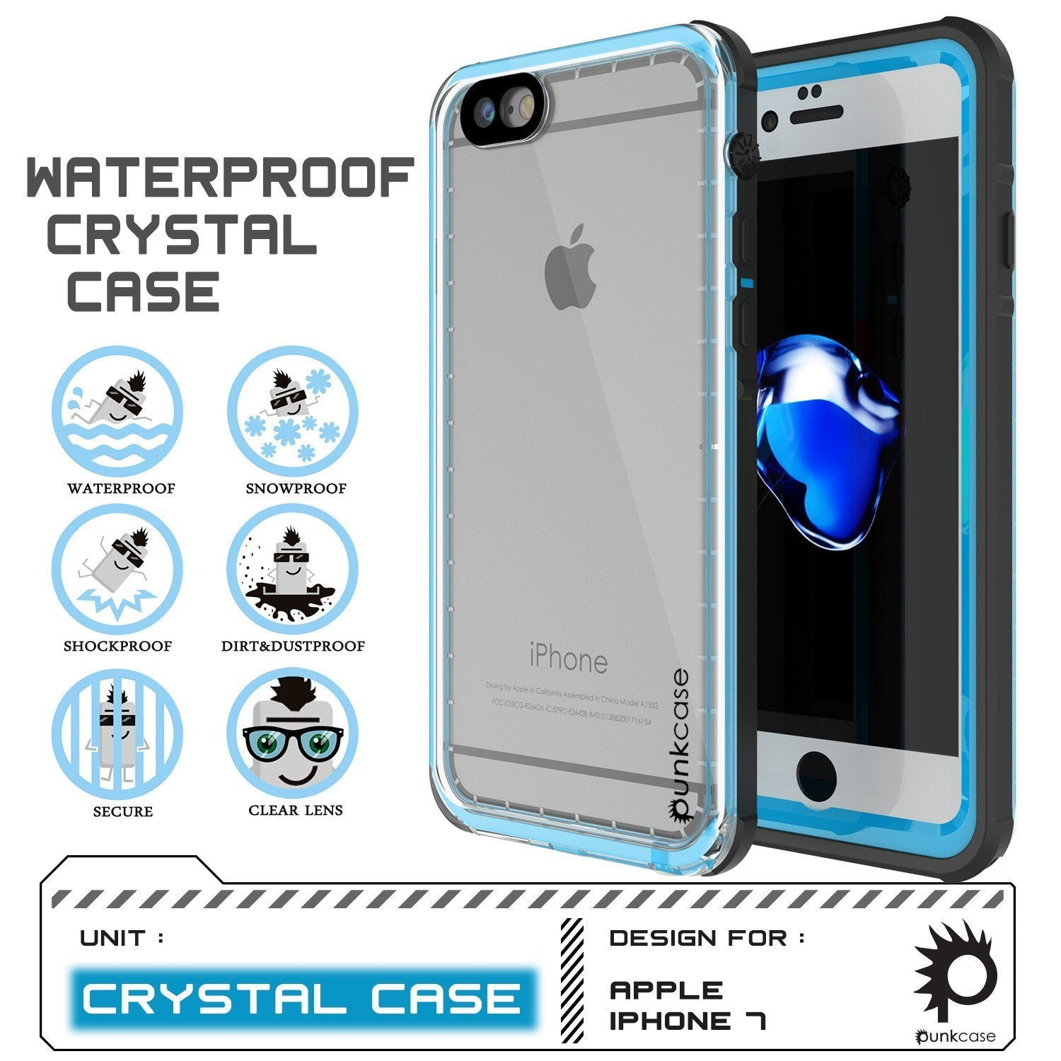"Apple iPhone SE (4.7"") Waterproof Case, PUNKcase CRYSTAL Light Blue  W/ Attached Screen Protector  