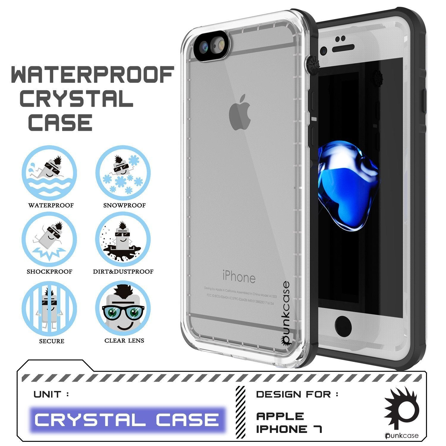 "Apple iPhone SE (4.7"") Waterproof Case, PUNKcase CRYSTAL White W/ Attached Screen Protector  