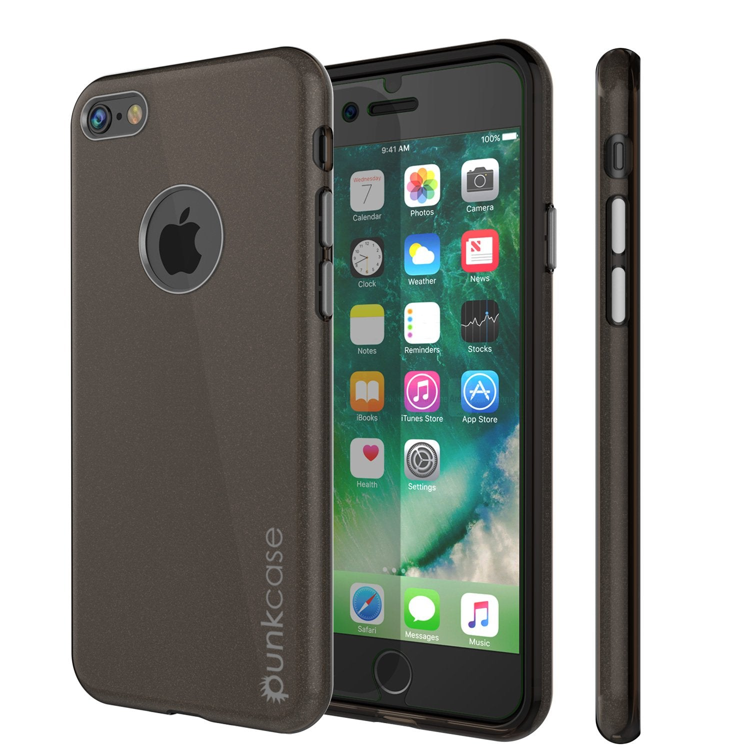 iPhone 8 Case, Punkcase Galactic 2.0 Series Ultra Slim Protective Armor TPU Cover [Black/Grey]