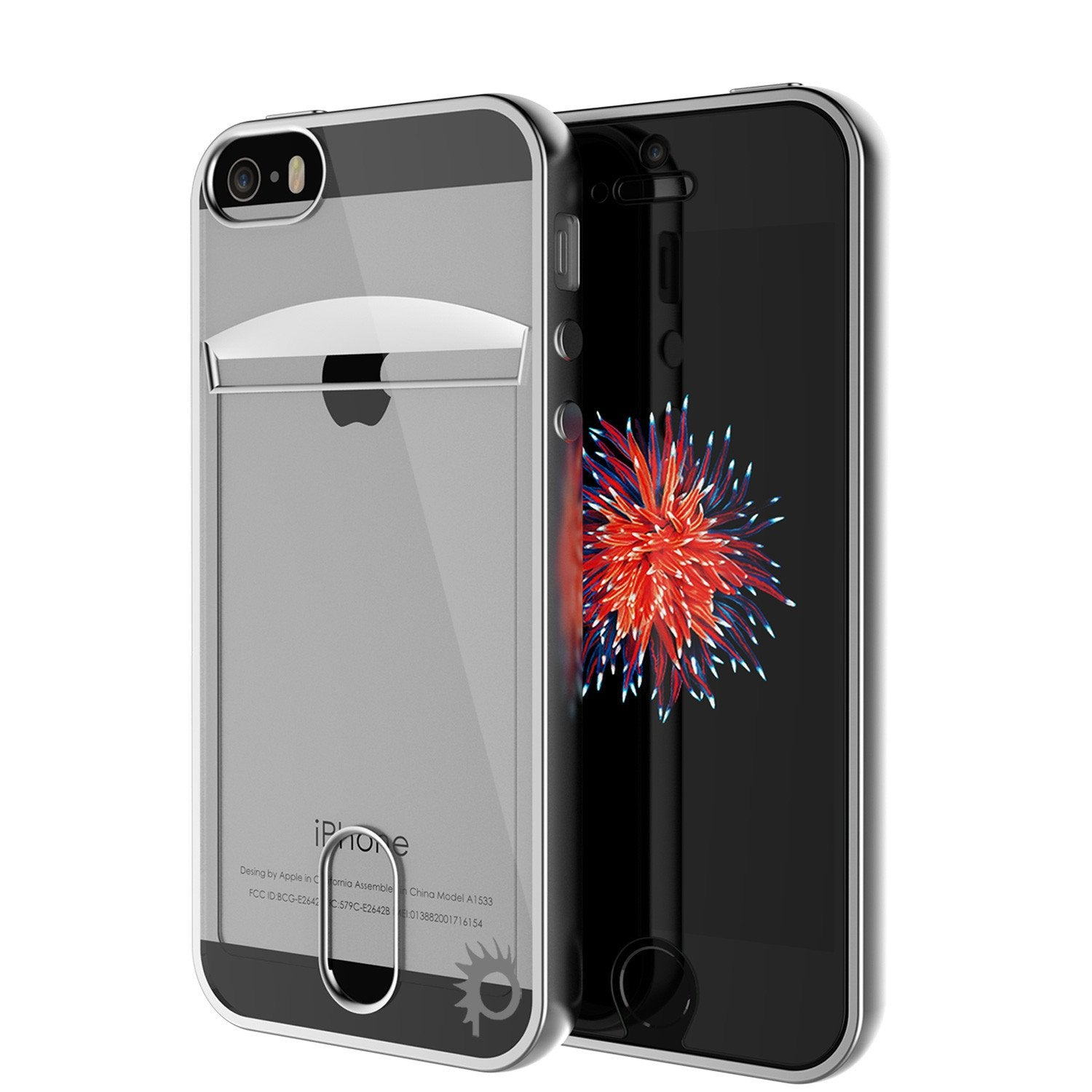 iPhone SE/5S/5 Case, PUNKCASE® LUCID Silver Series | Card Slot | SHIELD Screen Protector | Ultra fit