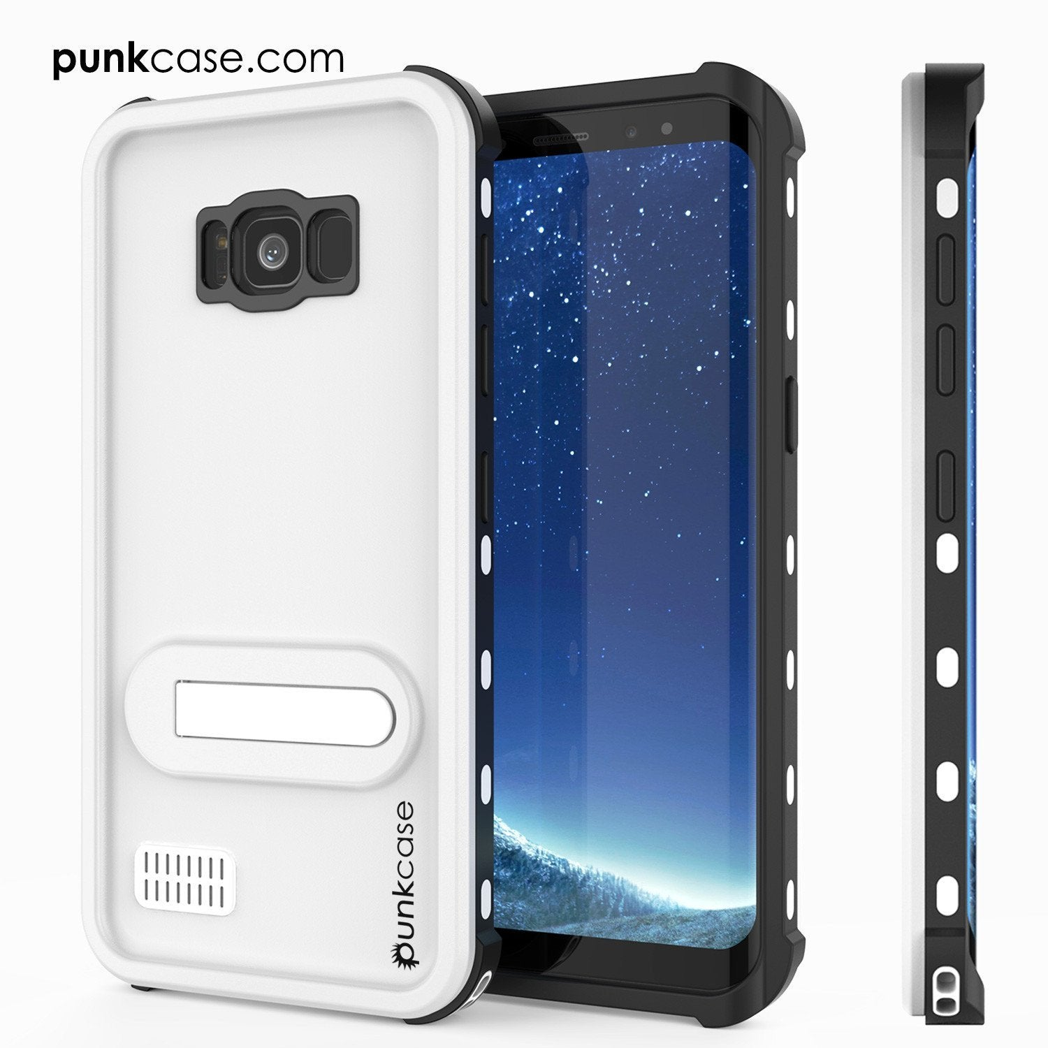 Galaxy S8 Punkcase KickStud Series W/Built-In Kickstand Case, White