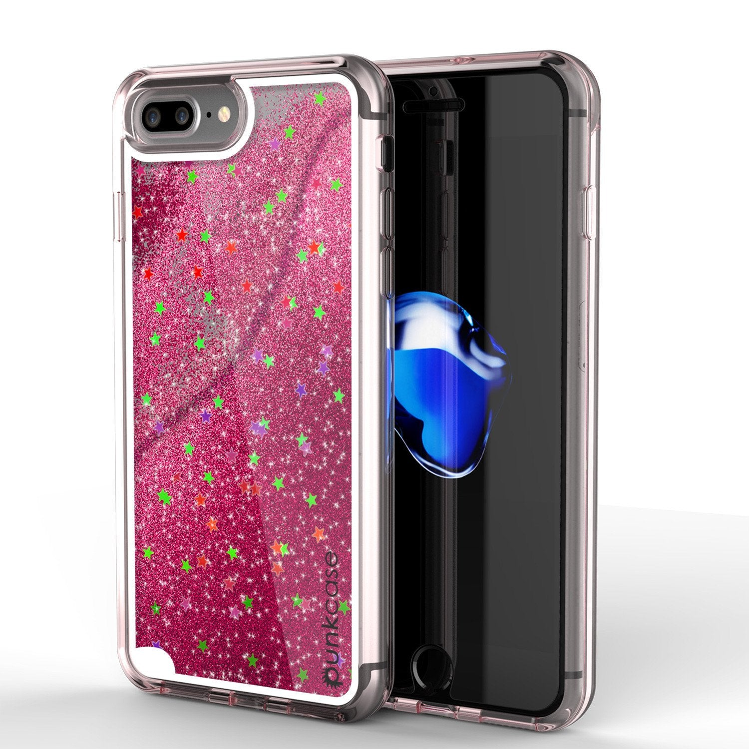 iPhone 7 Plus Case, Punkcase [Liquid Pink Series] Protective Dual Layer Floating Glitter Cover with lots of Bling & Sparkle + 0.3mm Tempered Glass Screen Protector for Apple iPhone 7s Plus