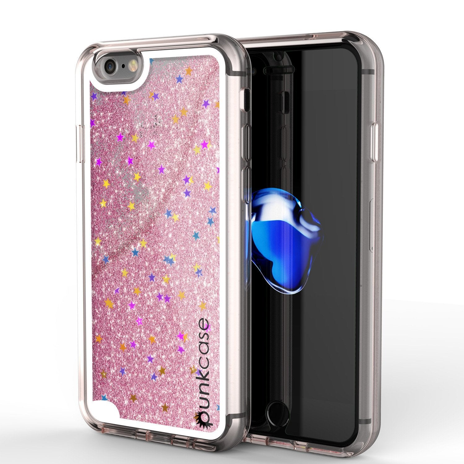 iPhone 7 Case, Punkcase [Liquid Rose Series] Protective Dual Layer Floating Glitter Cover with lots of Bling & Sparkle + 0.3mm Tempered Glass Screen Protector for Apple iPhone 7s