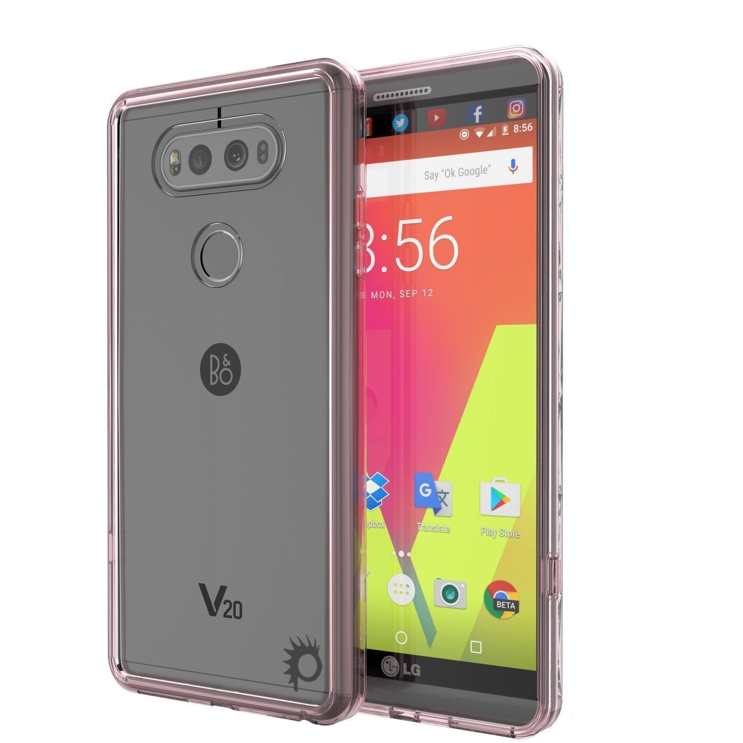 LG v20 Case Punkcase® LUCID 2.0 Crystal Pink Series w/ PUNK SHIELD Glass Screen Protector | Ultra Fit