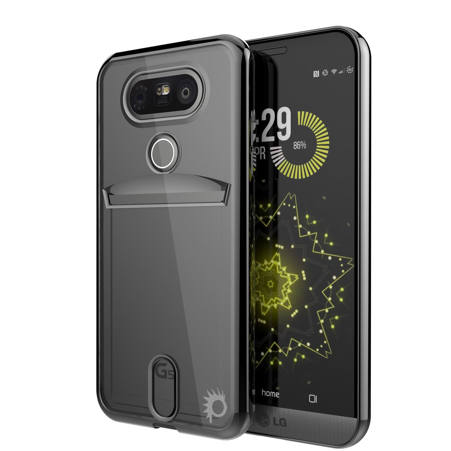 LG G5 Case, PUNKCASE® Black LUCID Series | Card Slot | PUNK SHIELD Screen Protector | Ultra Fit