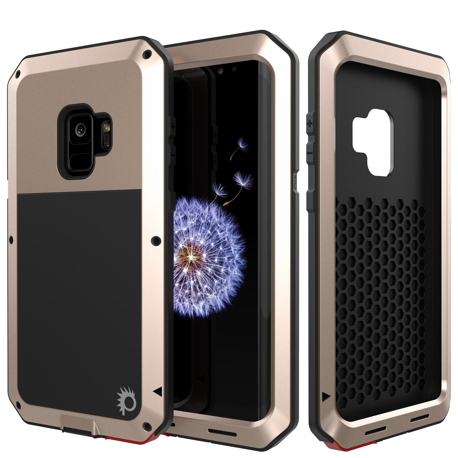 Galaxy S9 Metal Case, Heavy Duty Military Grade Rugged case [Gold]
