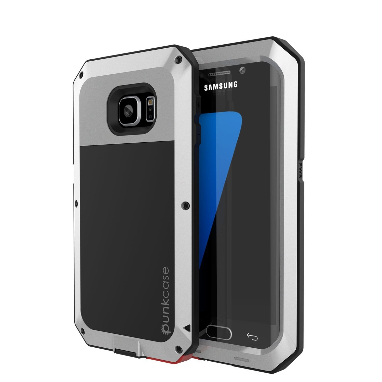 Galaxy S7 EDGE  Case, PUNKcase Metallic Silver Shockproof  Slim Metal Armor Case