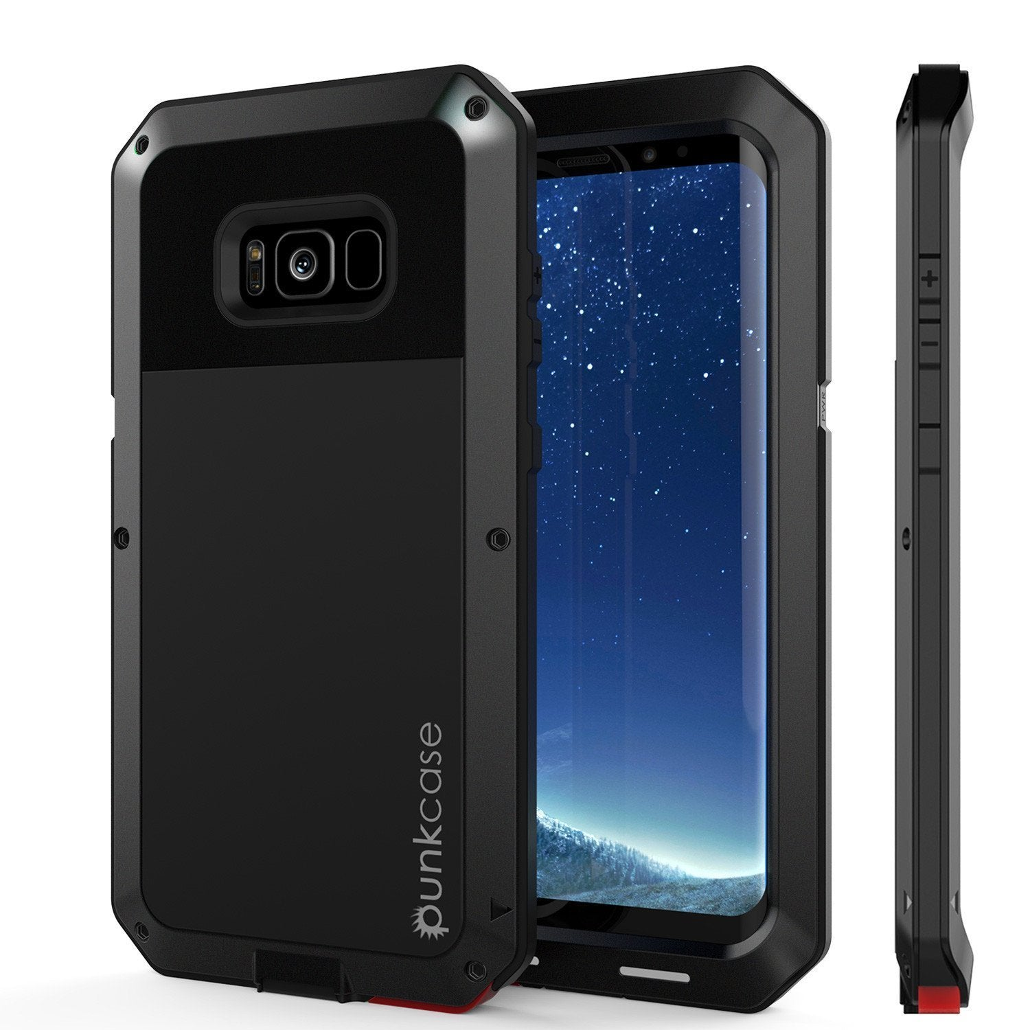 Galaxy Note 8  Case, Punkcase Metallic Black W/ Tempered Glass Screen
