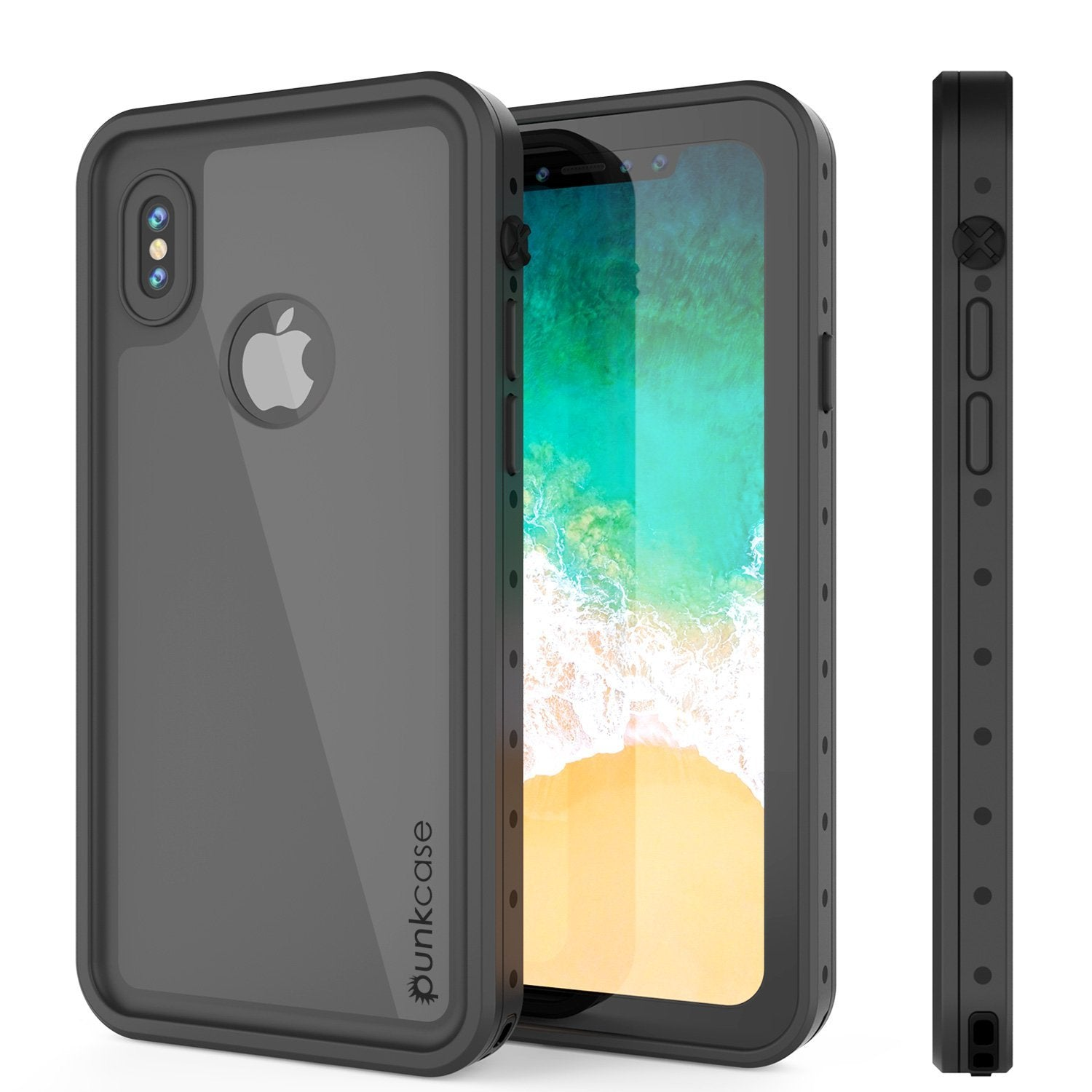 iPhone XS Max Waterproof IP68 Case, Punkcase [Black] [StudStar Series] [Slim Fit] [Dirtproof]