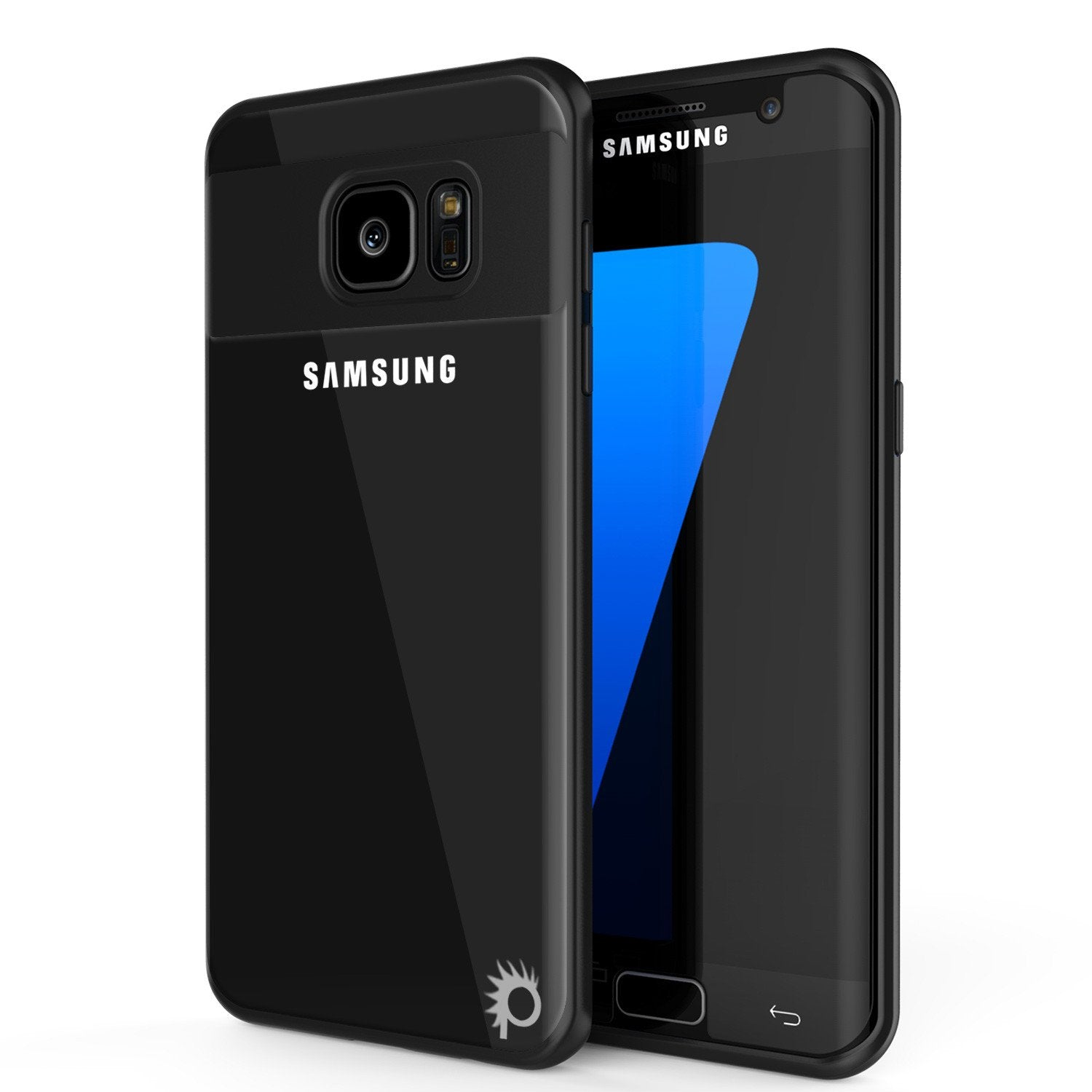 Galaxy S7 Edge Case [MASK Series] [BLACK] Full Body Hybrid Dual Layer TPU Cover W/ Protective PUNKSHIELD Screen Protector