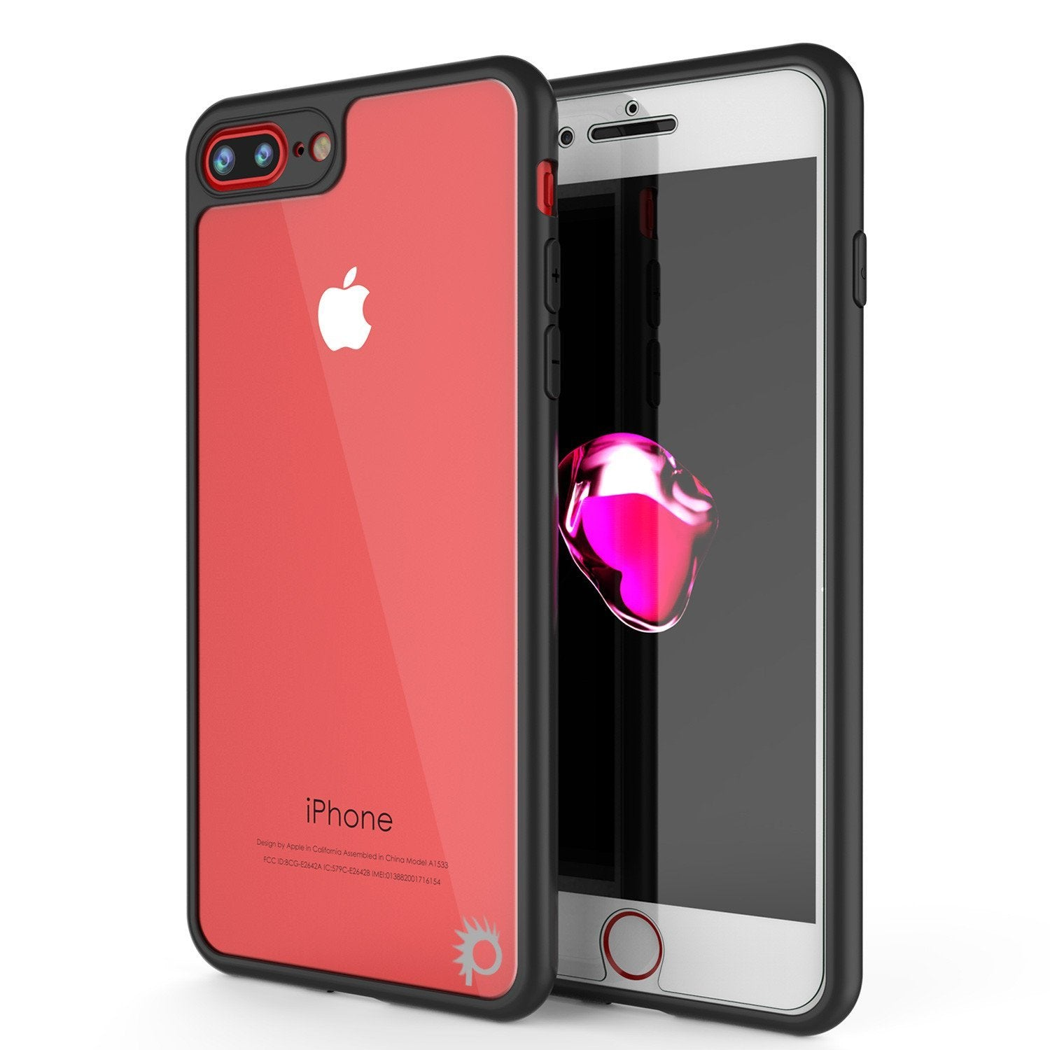 iPhone 8+ Plus Case, Punkcase [MASK Series] [BLACK] Full Body Hybrid Dual Layer TPU Cover W/ protective Tempered Glass Screen Protector