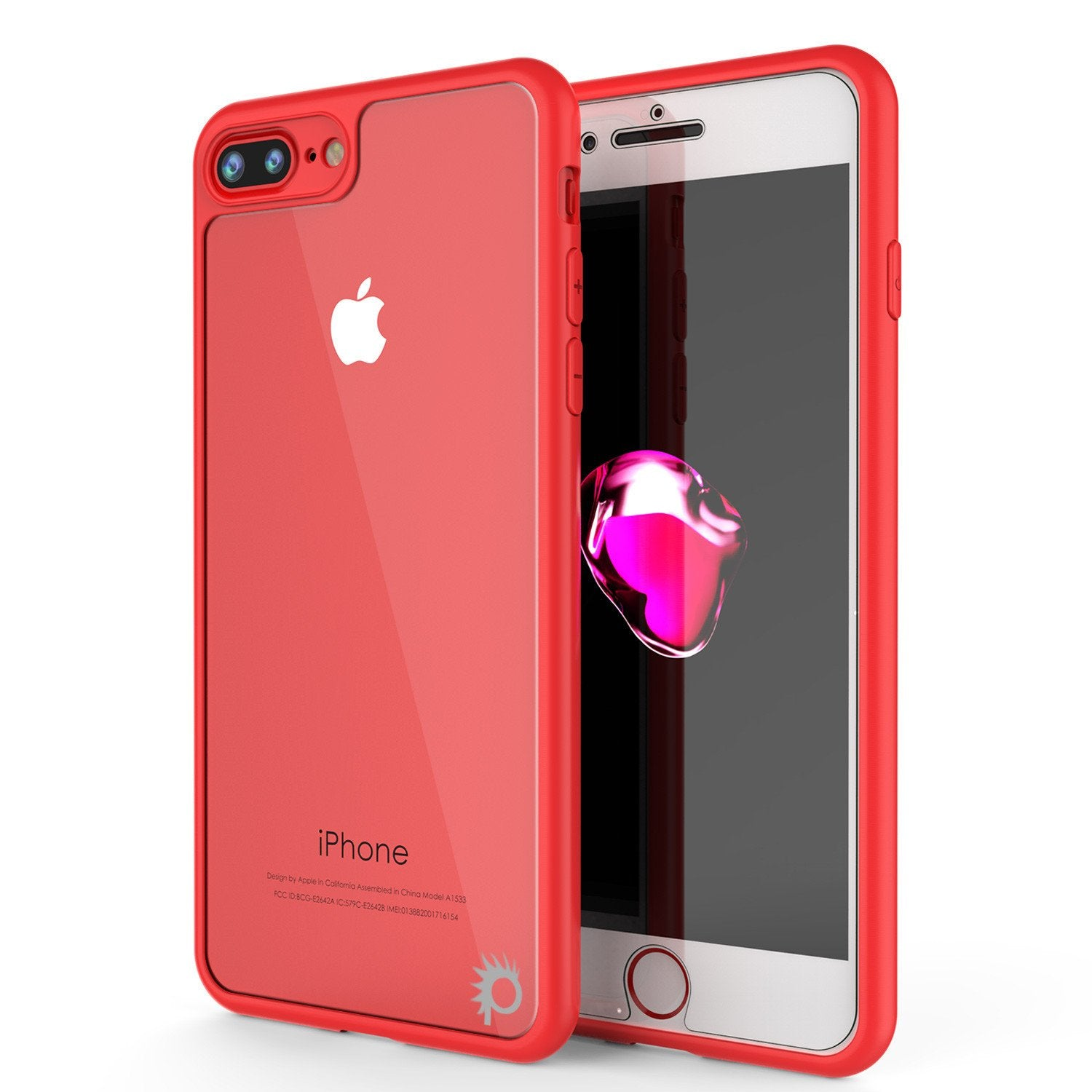 iPhone 7 PLUS Case, Punkcase [MASK Series] [RED] Full Body Hybrid Dual Layer TPU Cover [Clear Back] [Non Slip] [Ultra Thin Fit] W/ protective Tempered Glass Screen Protector for Apple iPhone 7s PLUS