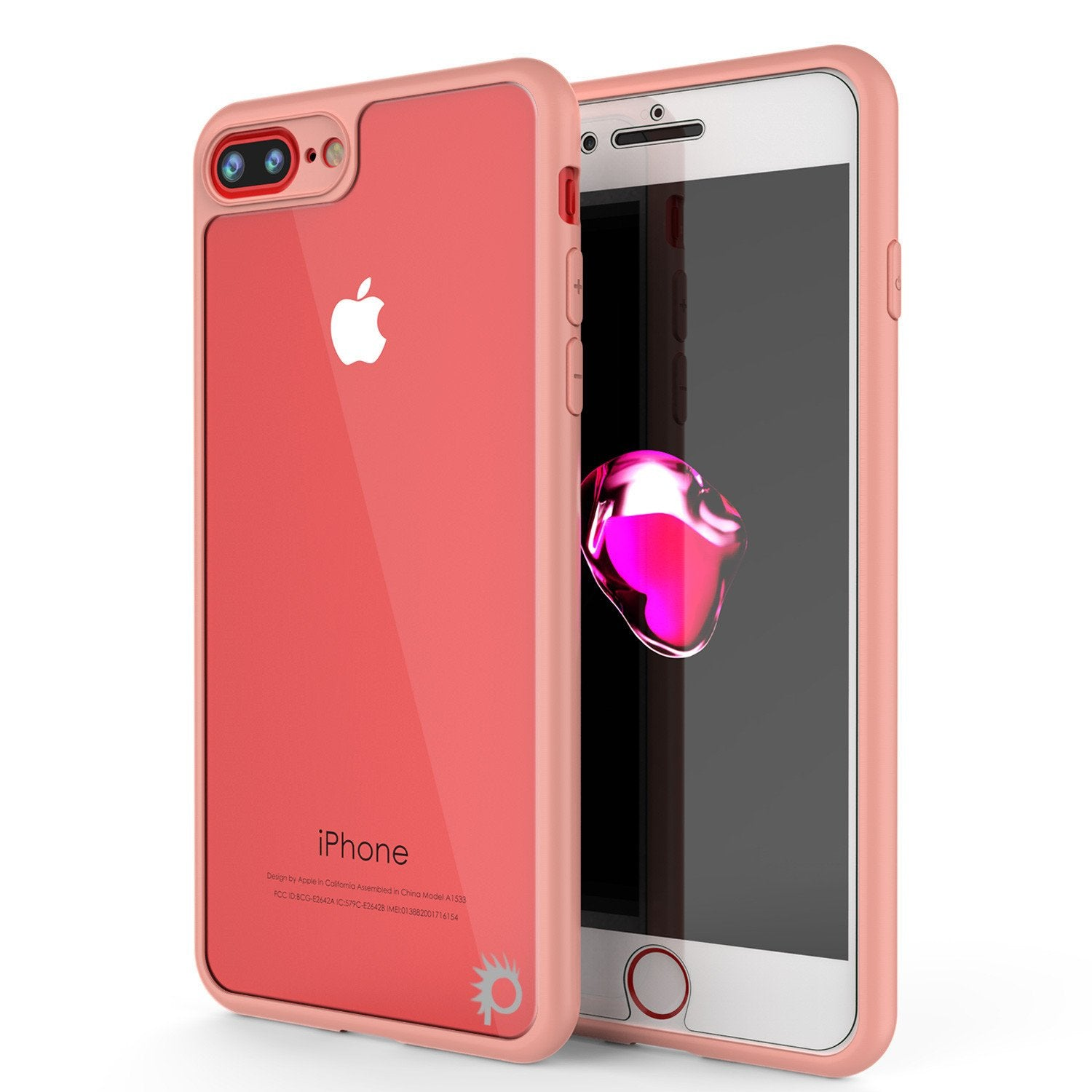 iPhone 7 PLUS Case, Punkcase [MASK Series] [PINK] Full Body Hybrid Dual Layer TPU Cover [Clear Back] [Non Slip] [Ultra Thin Fit] W/ protective Tempered Glass Screen Protector for Apple iPhone 7s PLUS