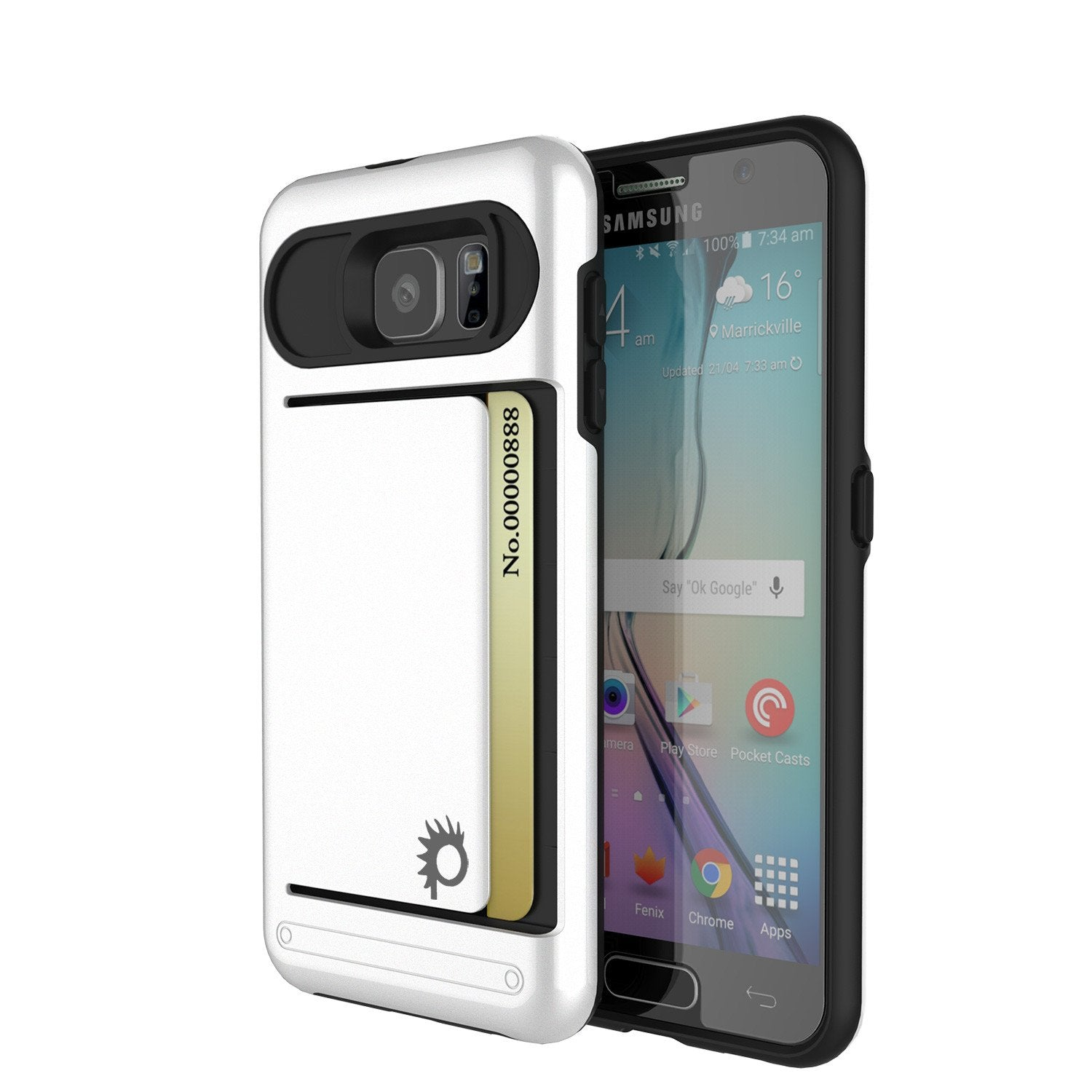 Galaxy s6 Case PunkCase CLUTCH White Series Slim Armor Soft Cover Case w/ Tempered Glass