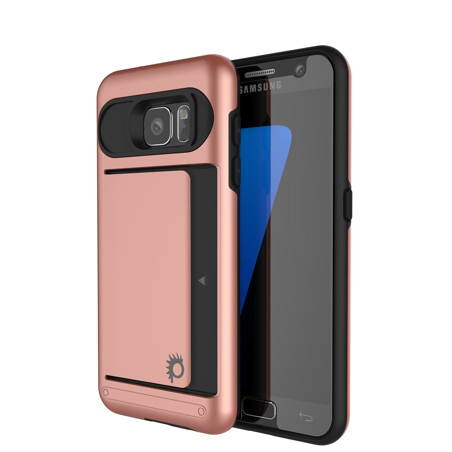 Galaxy s7 Case PunkCase CLUTCH Rose Gold Series Slim Armor Soft Cover Case w/ Tempered Glass