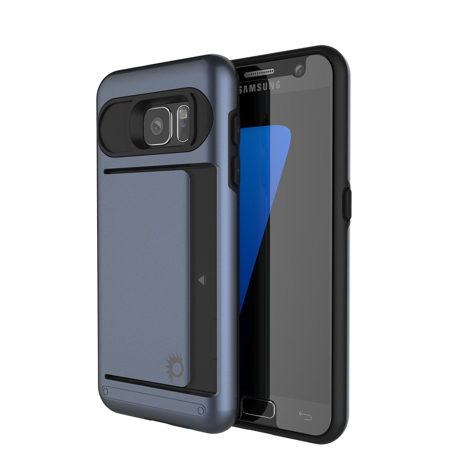 Galaxy S7 EDGE Case PunkCase CLUTCH Navy Series Slim Armor Soft Cover Case w/ Screen Protector