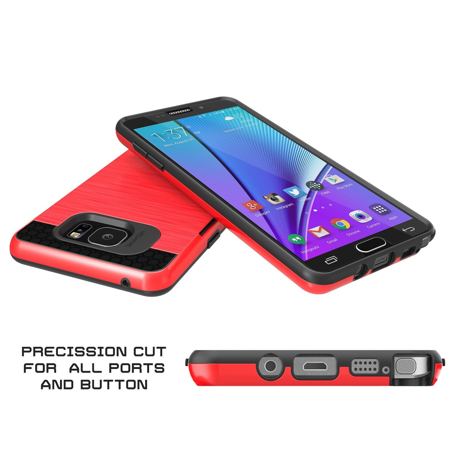 Galaxy Note 5 Case PunkCase SLOT Red Series Slim Armor Soft Cover Case w/ Tempered Glass