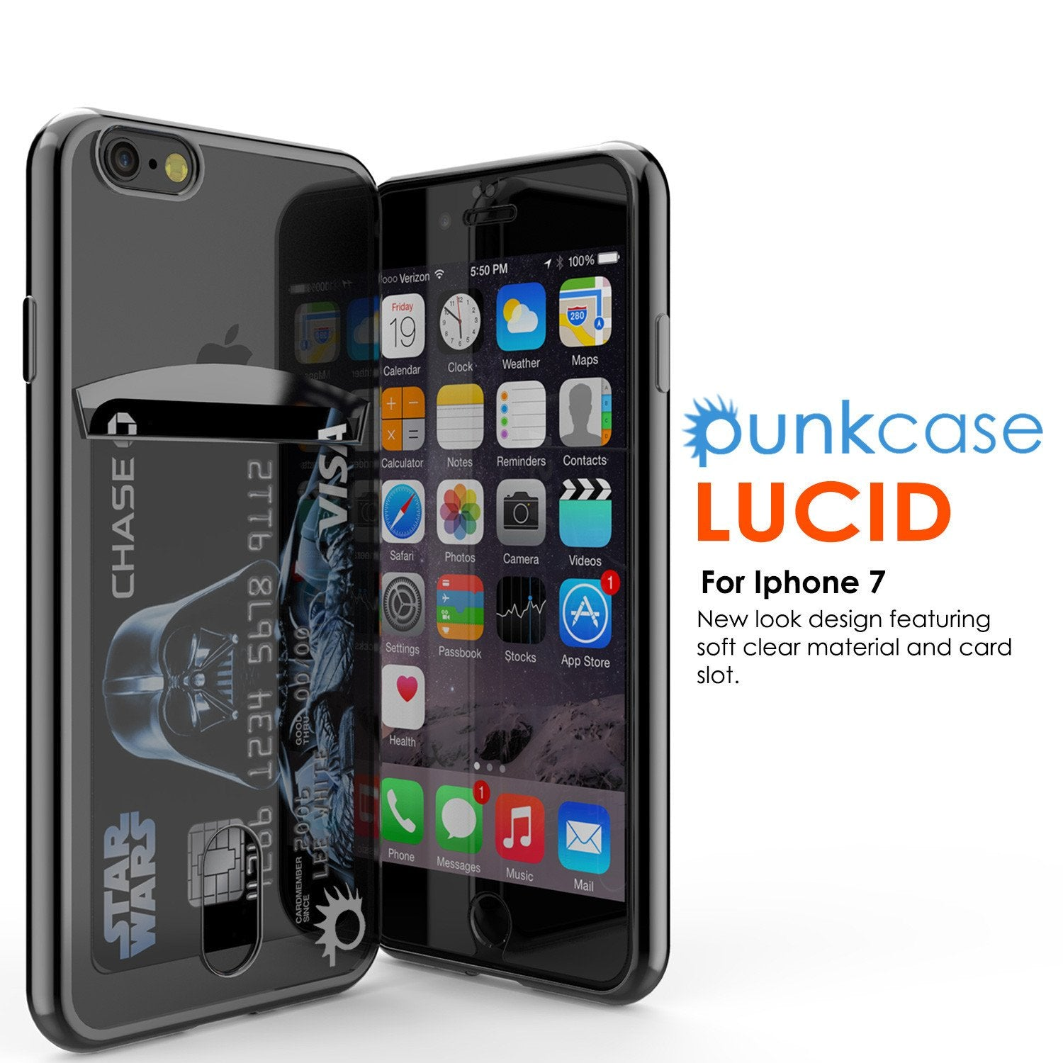 iPhone 7 Case, PUNKCASE® LUCID Black Series for iPhone 7 Premium Impact Protective Armor Case Cover | Clear TPU | Lifetime Warranty Exchange | PUNK SHIELD Screen Protector | Ultra Fit