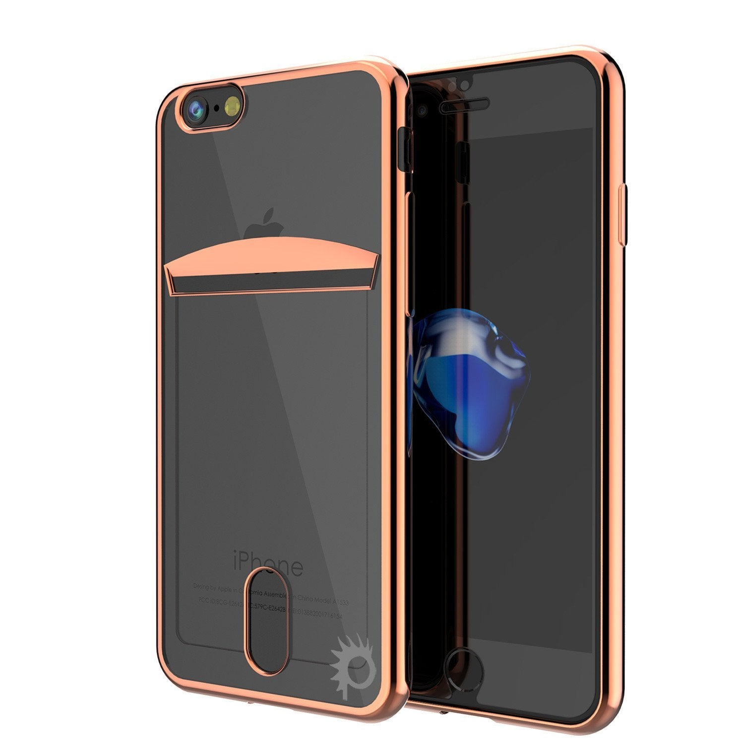 iPhone 8+ Plus Case, PUNKCASE® LUCID Rose Gold Series | Card Slot | SHIELD Screen Protector