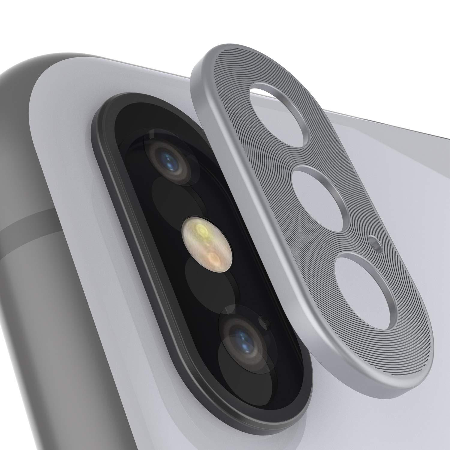Punkcase iPhone XS Camera Protector Ring [Silver]