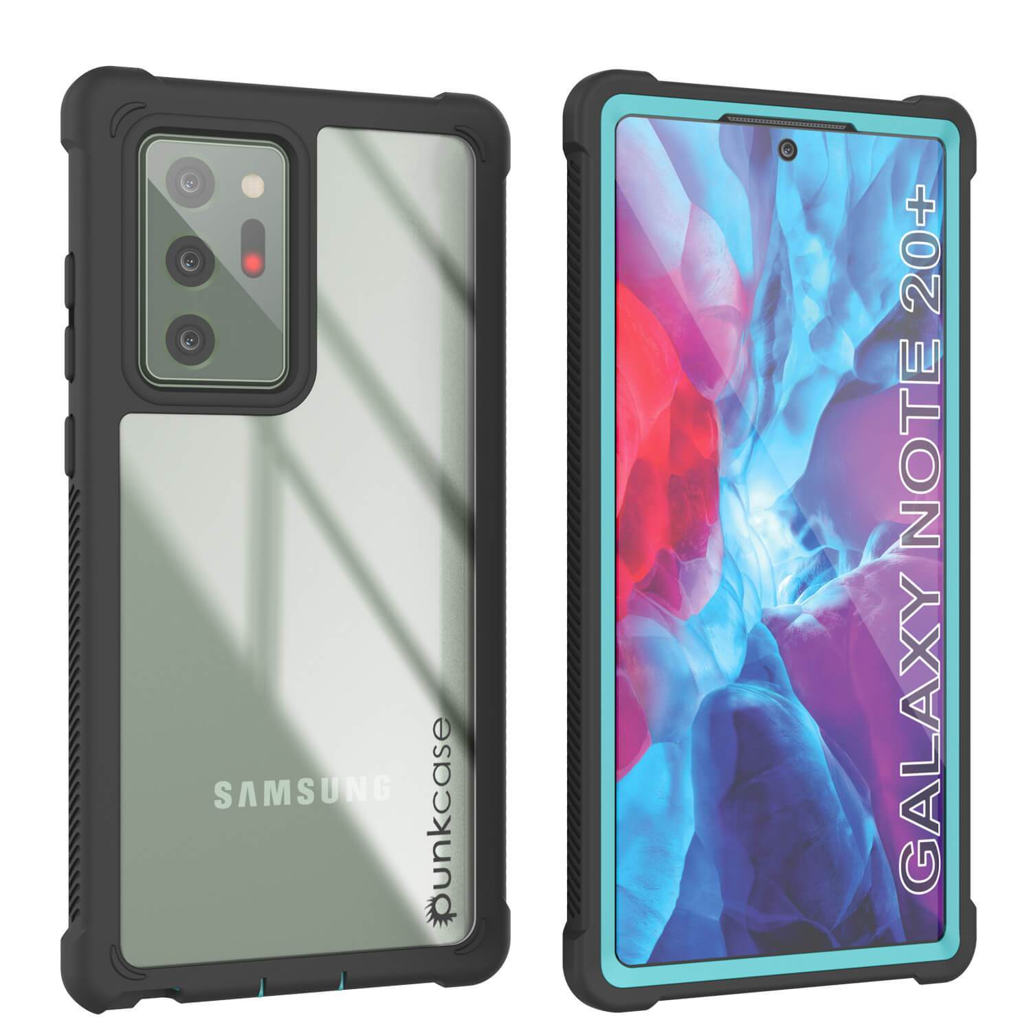 Punkcase Galaxy Note 20 Ultra Case, [Spartan Series] Teal Rugged Heavy Duty Cover W/Built in Screen Protector