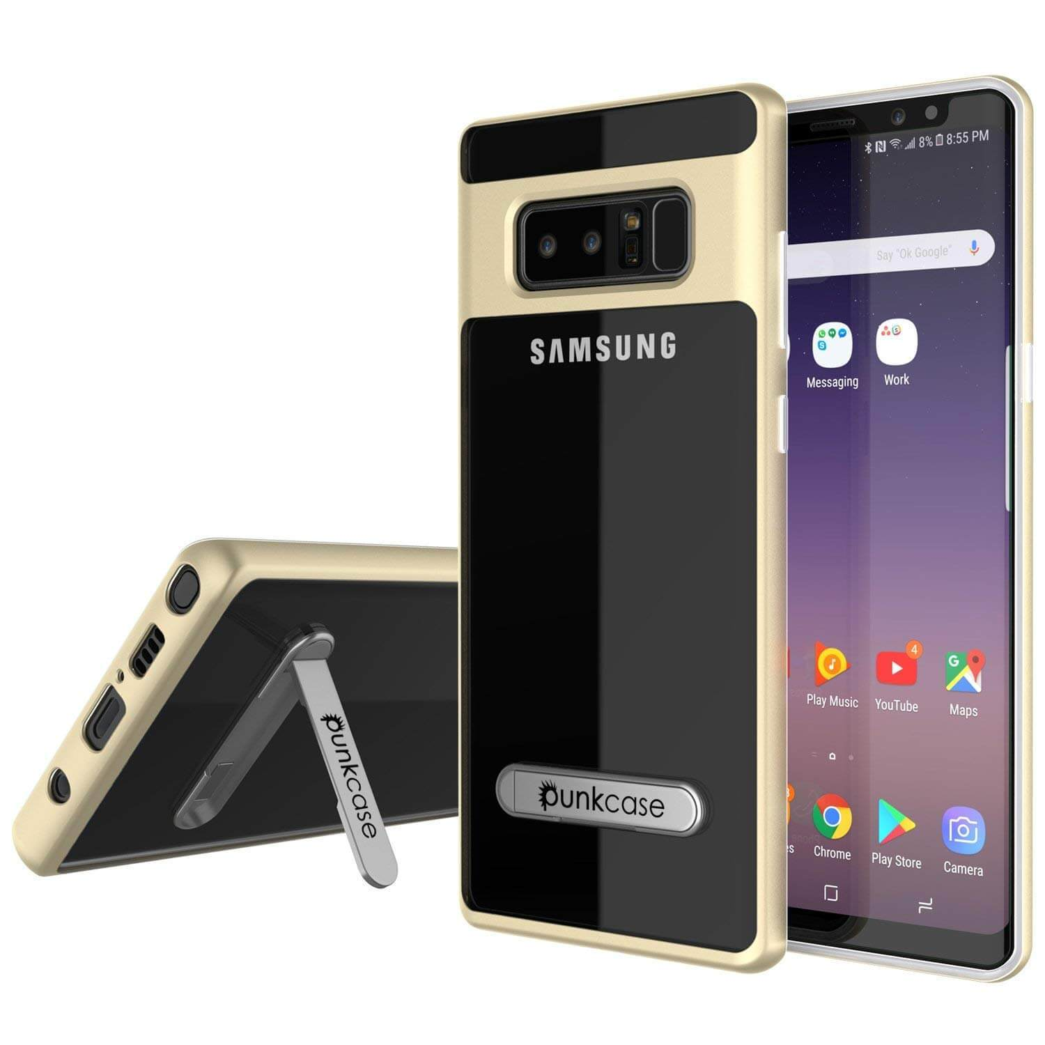 Galaxy Note 8 Case, Punkcase [LUCID 3.0 Series] Armor Cover [GOLD]