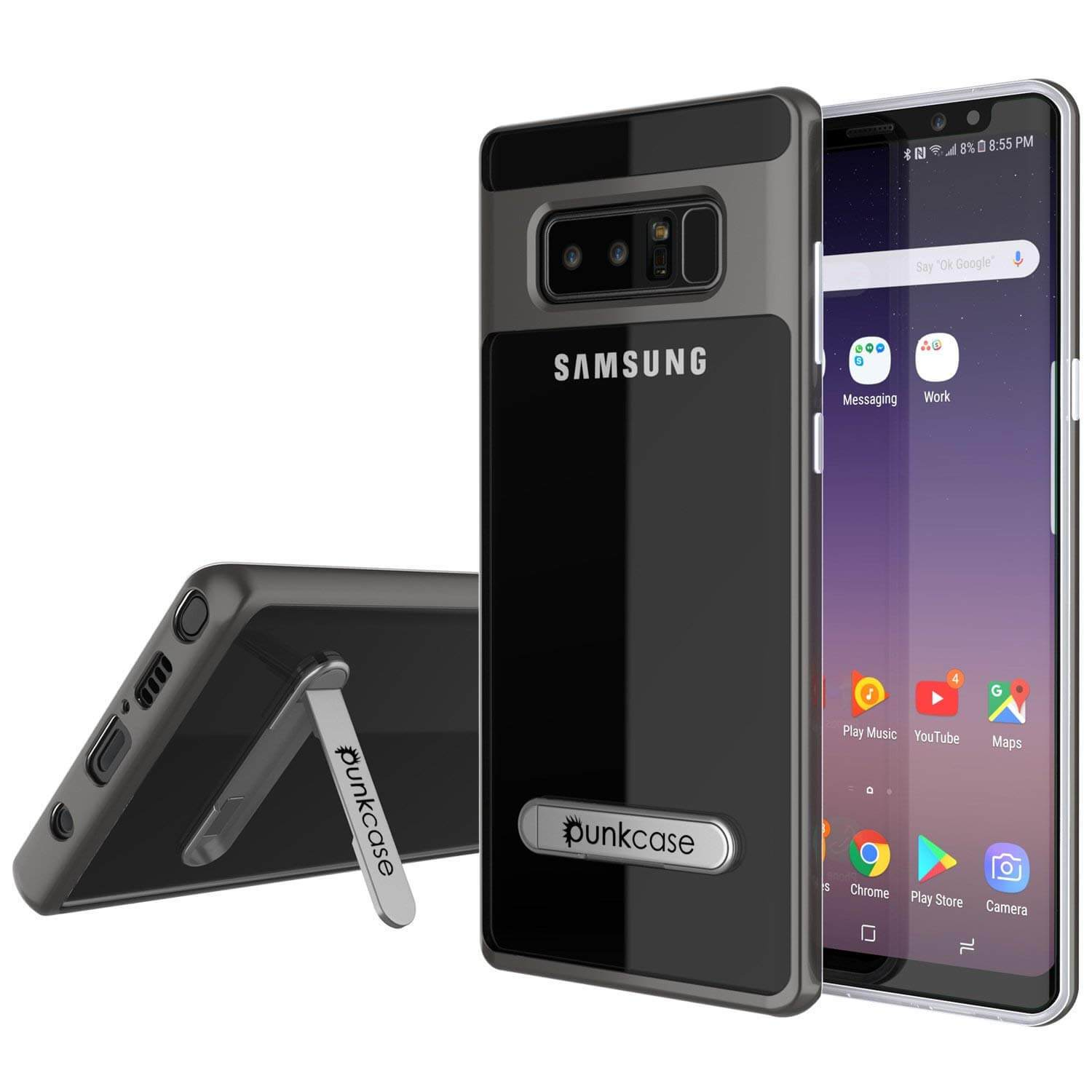 Galaxy Note 8 Case, Punkcase [LUCID 3.0 Series] Armor Cover [Grey]