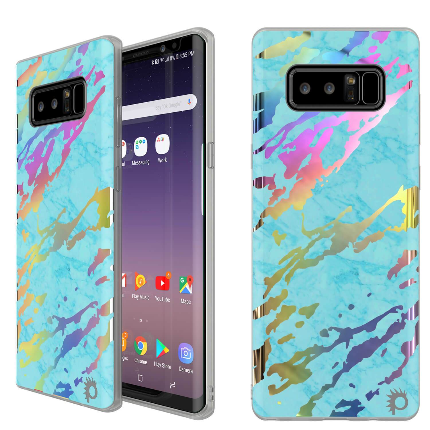 Galaxy Note 8 Marble Case, Protective Full Body Cover [Teal Onyx]