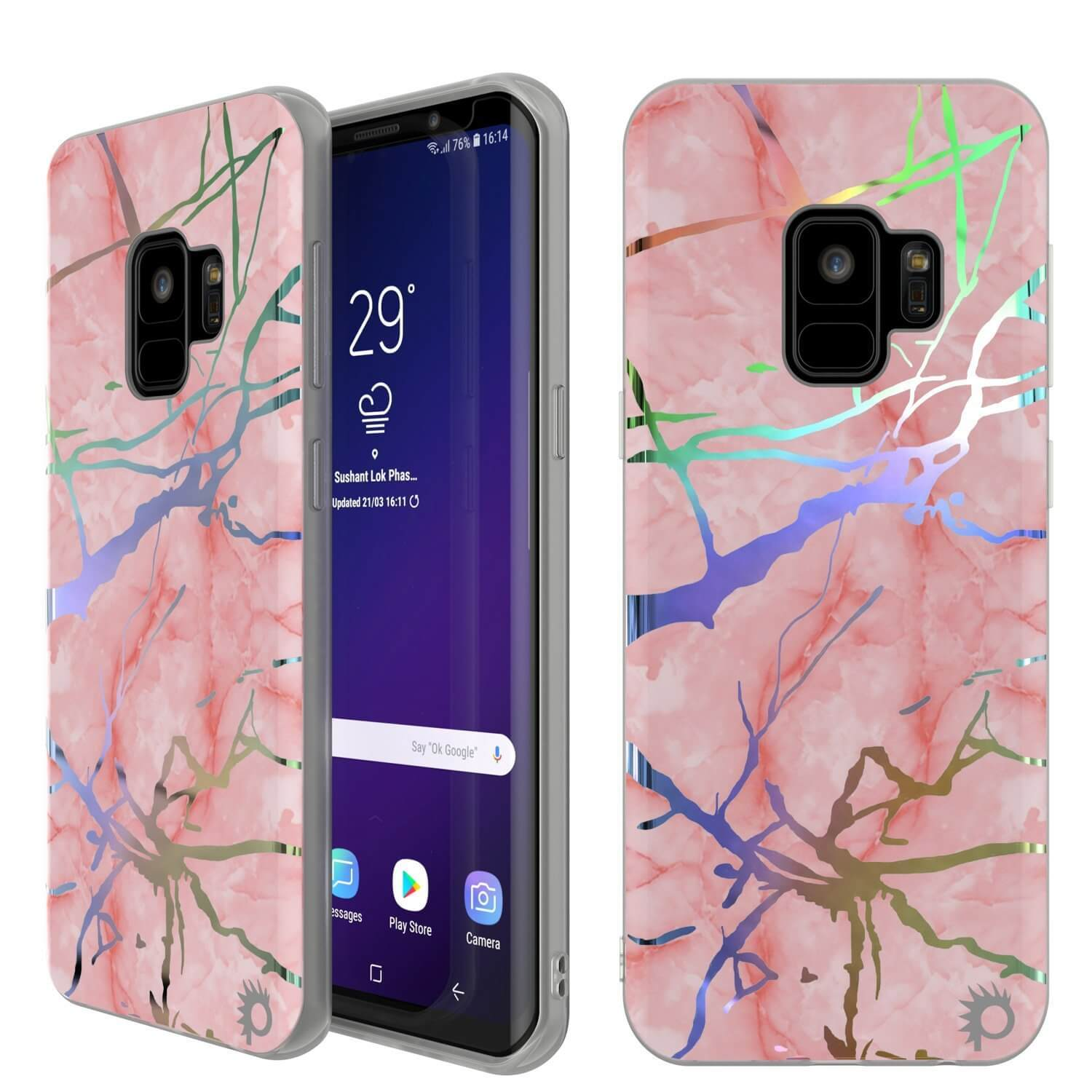 Galaxy S9 Marble PunkCase, Protective Full Body Cover [Rose Mirage]