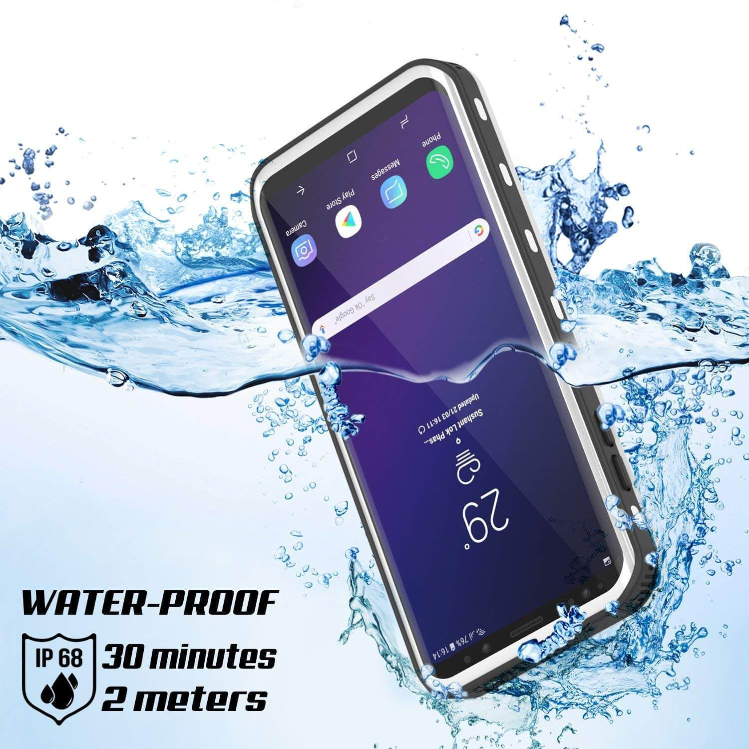 competitive price 0f8f3 bfe01 Galaxy S9 Plus Waterproof Case, Punkcase [KickStud Series] Armor Cover  [WHITE]