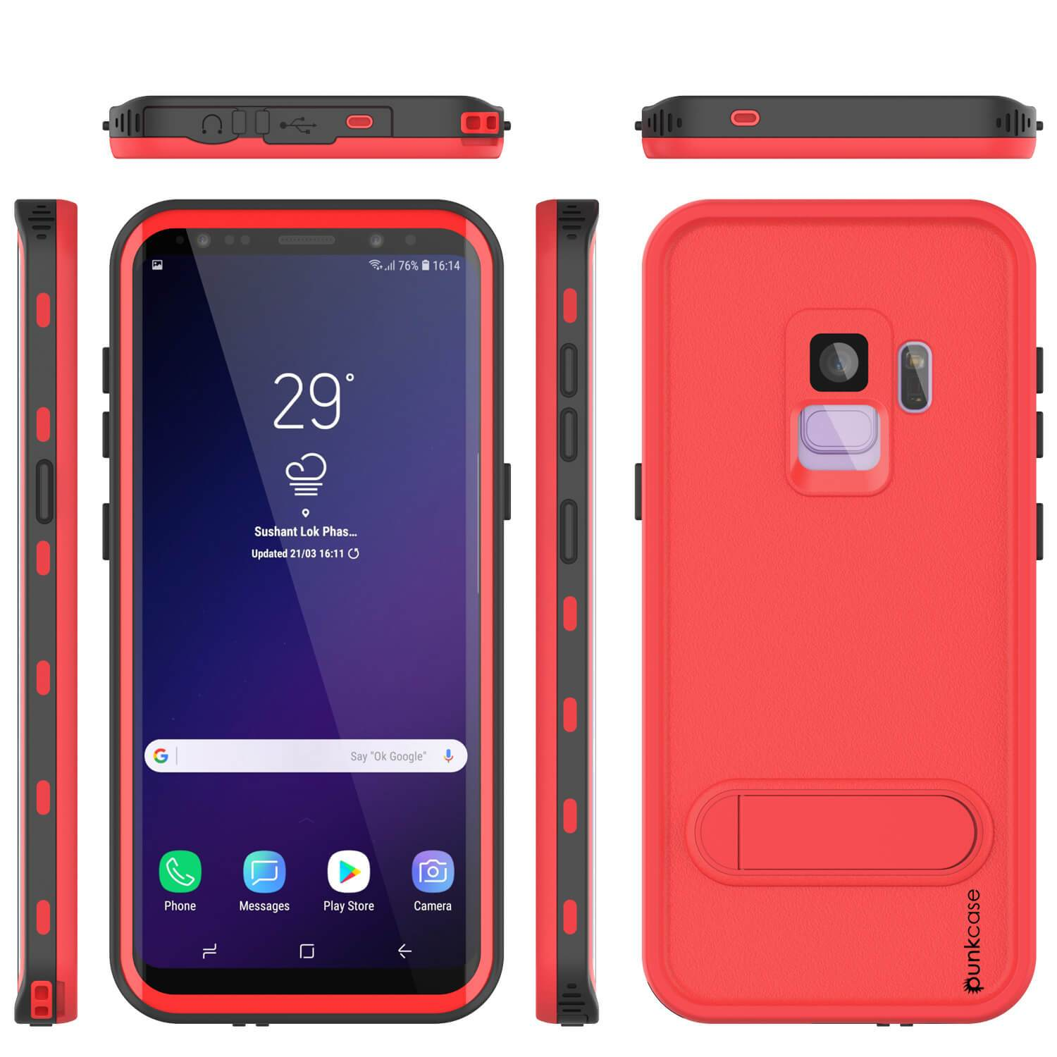 Galaxy S9 Waterproof Case, Punkcase [KickStud Series] Armor Cover, Red